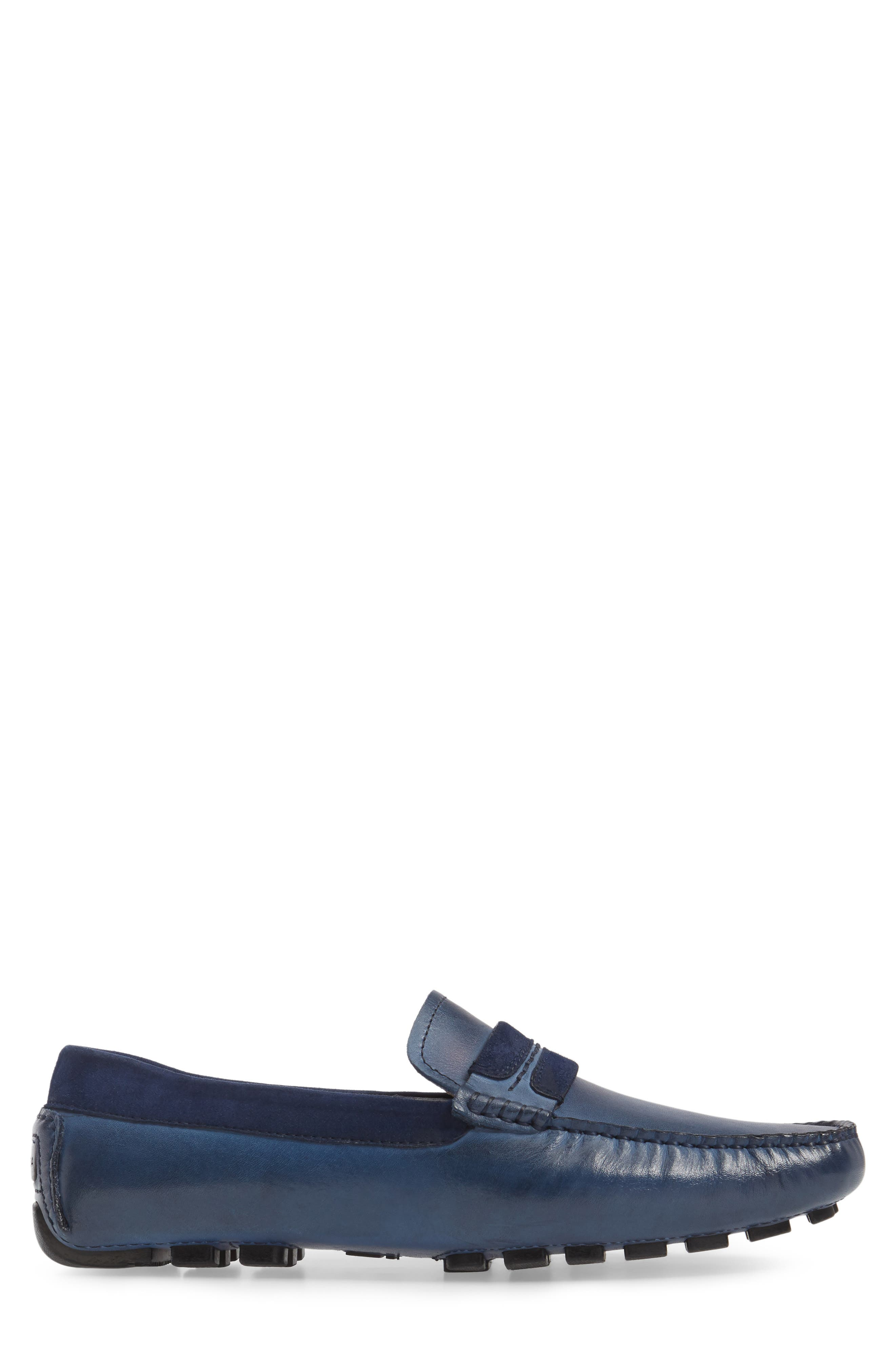 ZANZARA,                             Francesca Driving Shoe,                             Alternate thumbnail 3, color,                             BLUE LEATHER