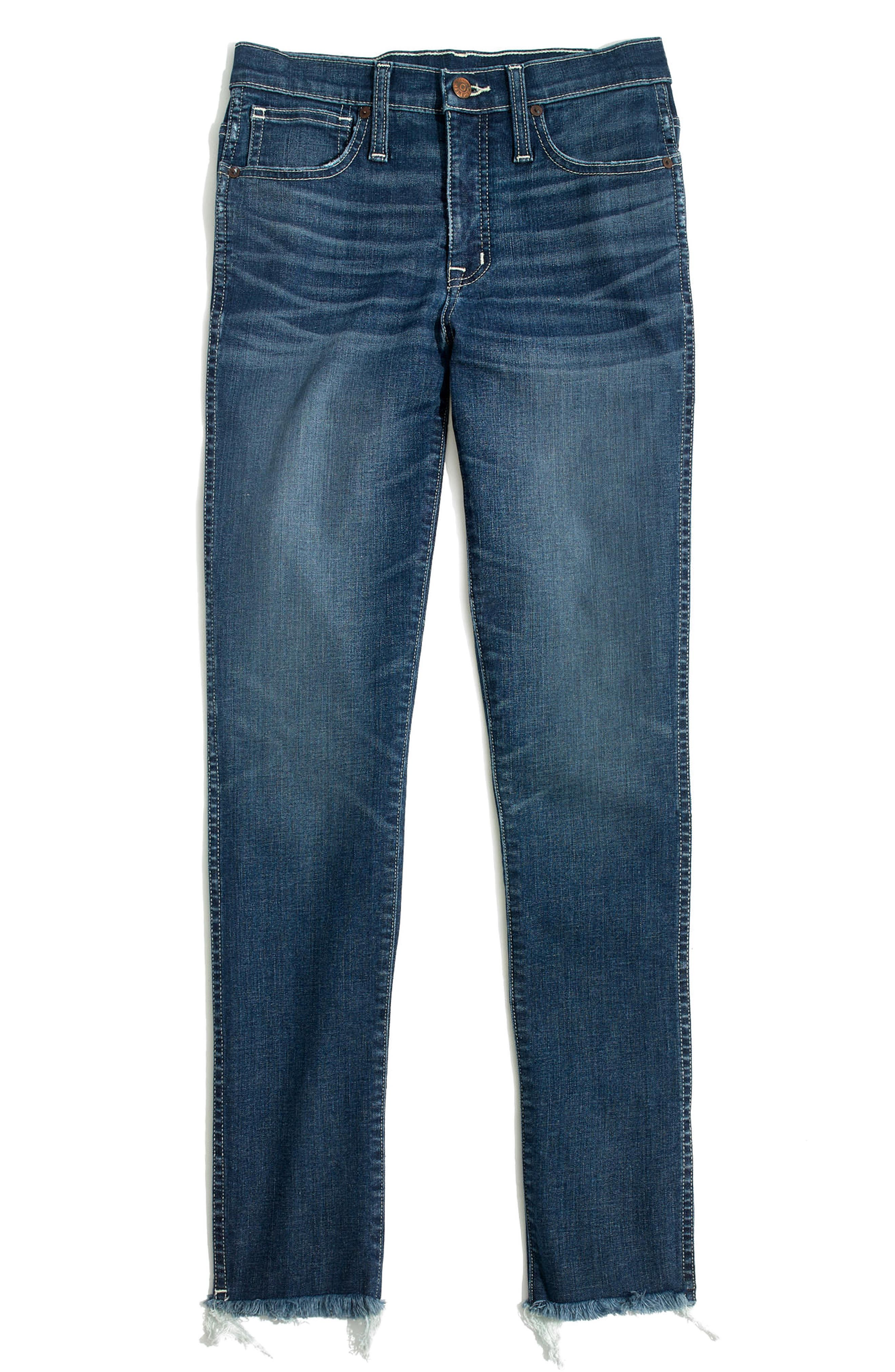 Raw Hem Slim Straight Leg Jeans,                             Alternate thumbnail 3, color,                             400