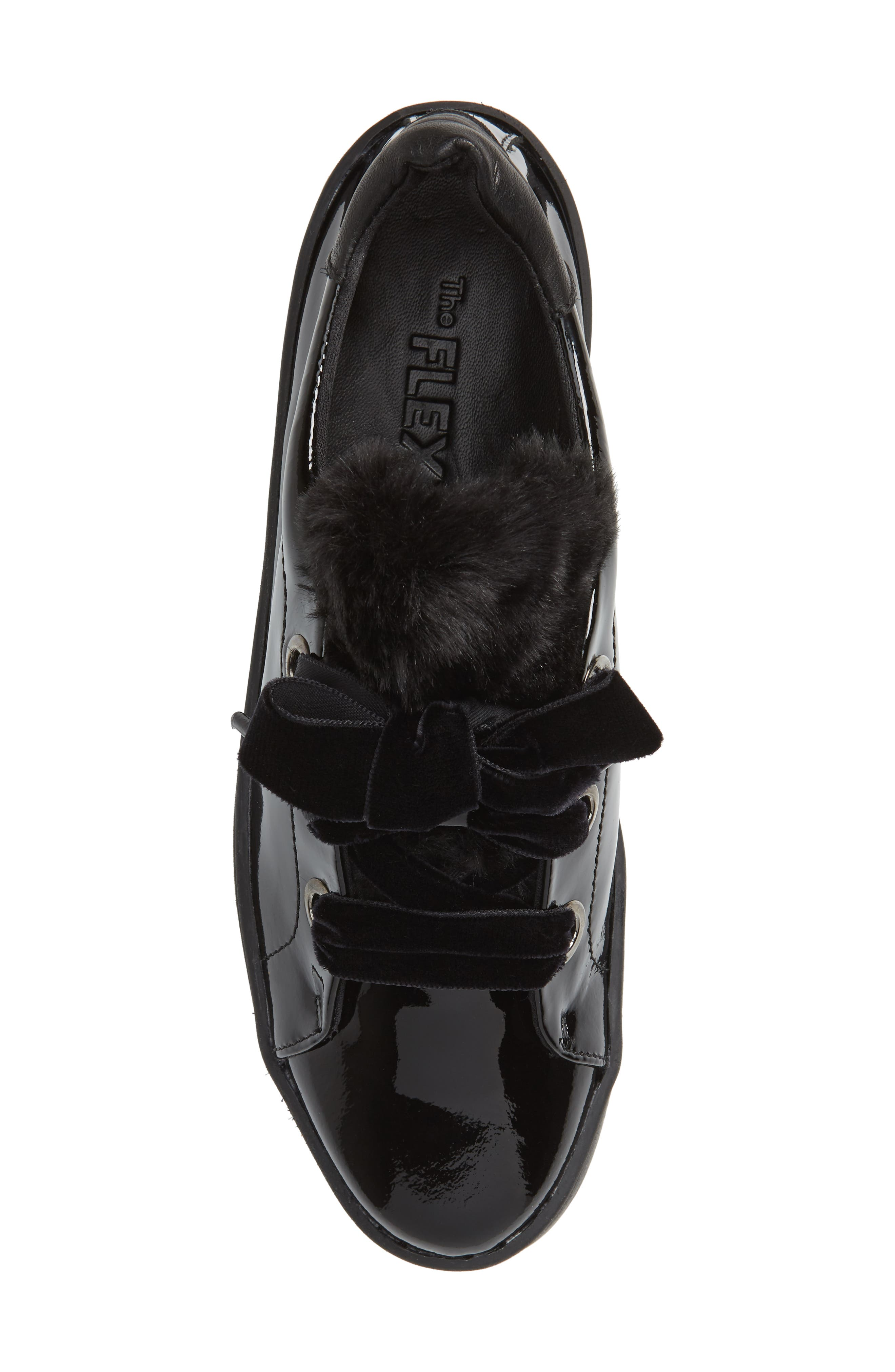 Groove Faux-Shearling Trim Sneaker,                             Alternate thumbnail 5, color,                             BLACK PATENT LEATHER