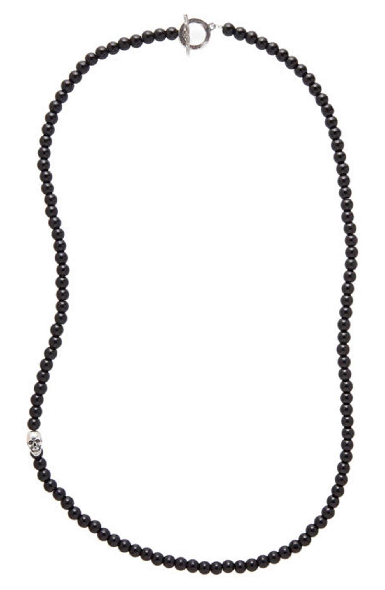 Onyx Bead Necklace,                             Main thumbnail 1, color,                             BLACK