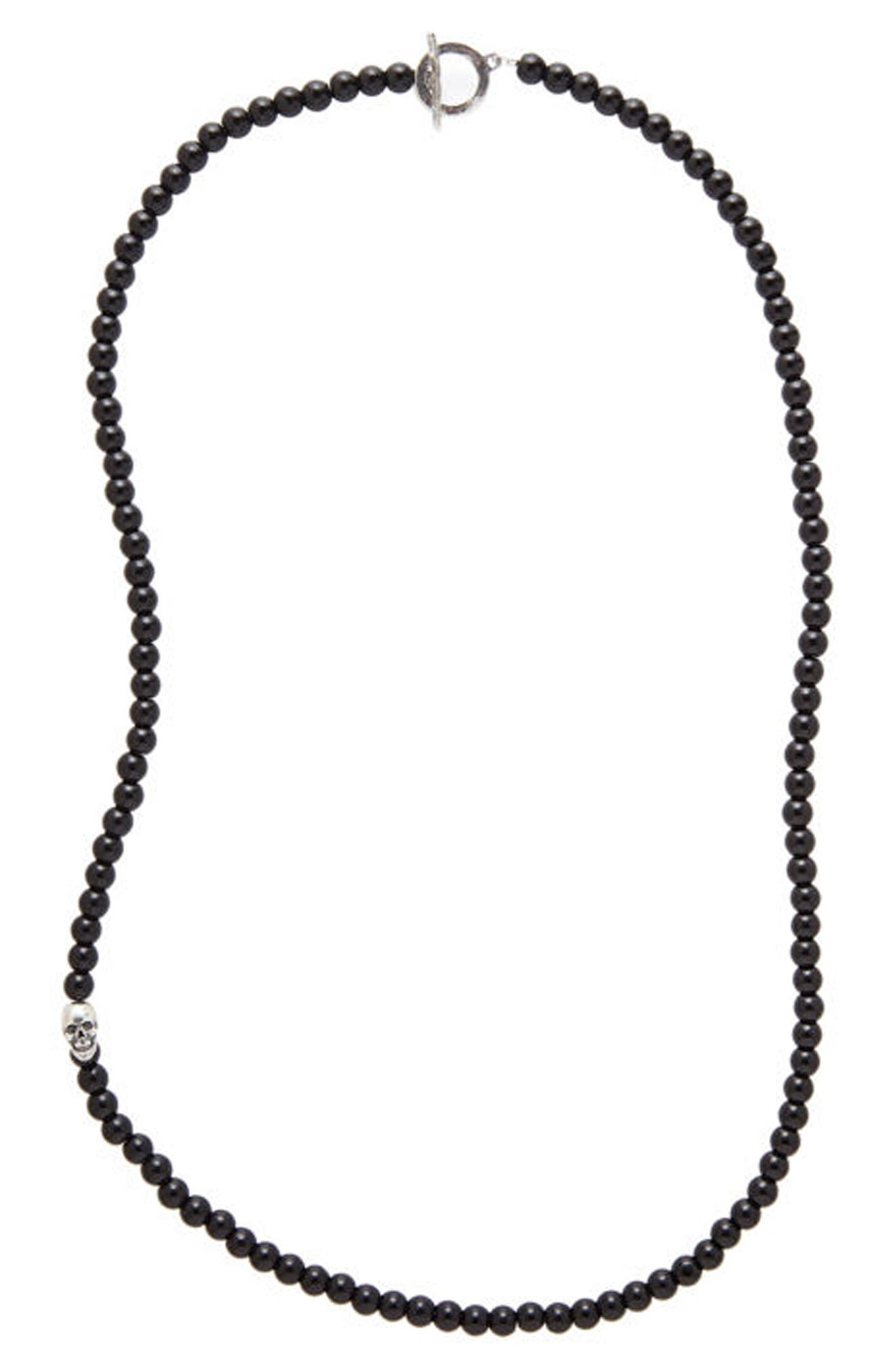 Onyx Bead Necklace,                         Main,                         color, BLACK