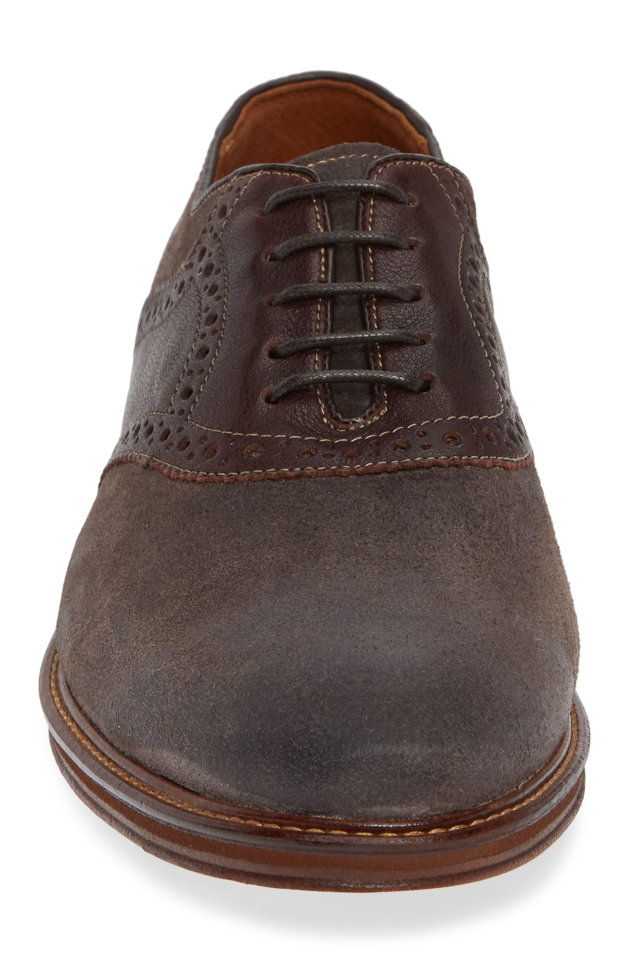 Warner Saddle Shoe,                             Alternate thumbnail 4, color,                             DARK GREY SUEDE