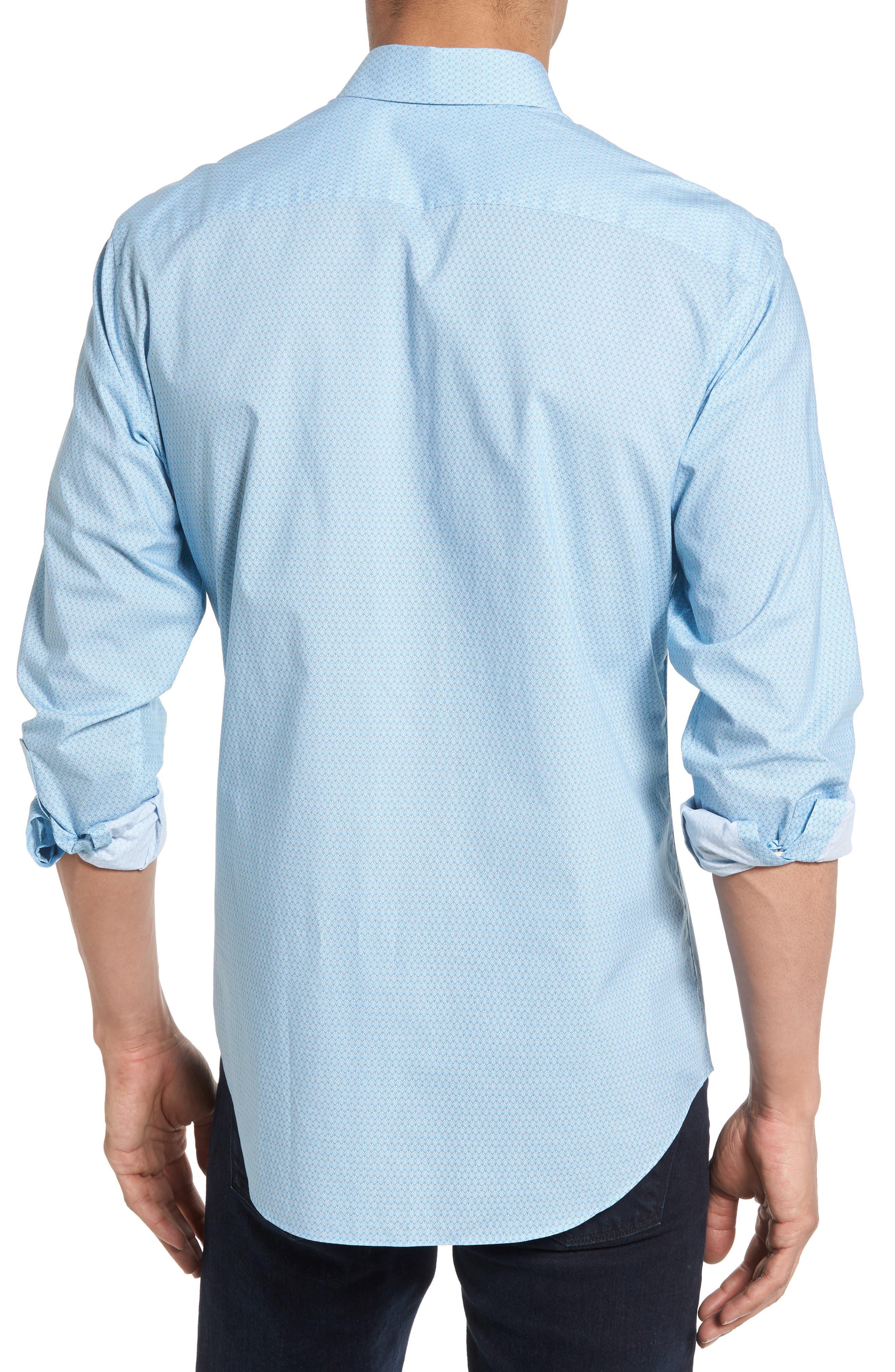 Dakotah Trim Fit Print Sport Shirt,                             Alternate thumbnail 2, color,                             LIGHT BLUE