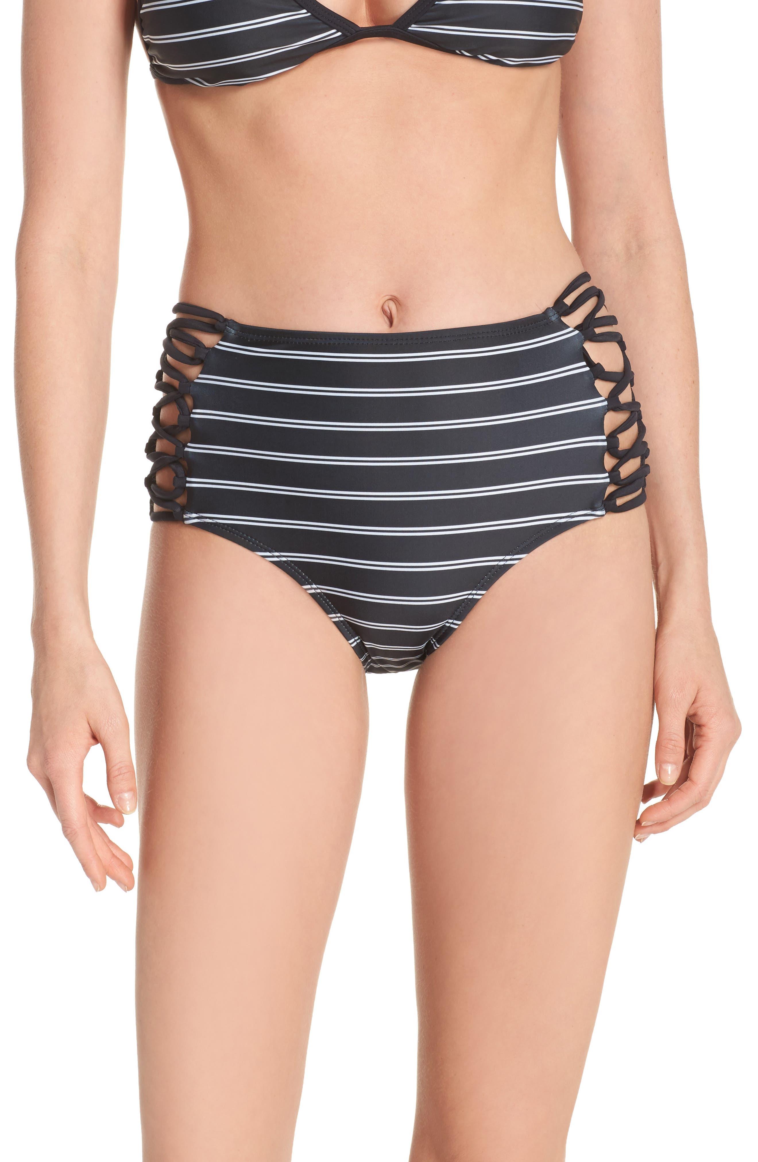 Stripe High Waist Bikini Bottoms,                         Main,                         color, 001