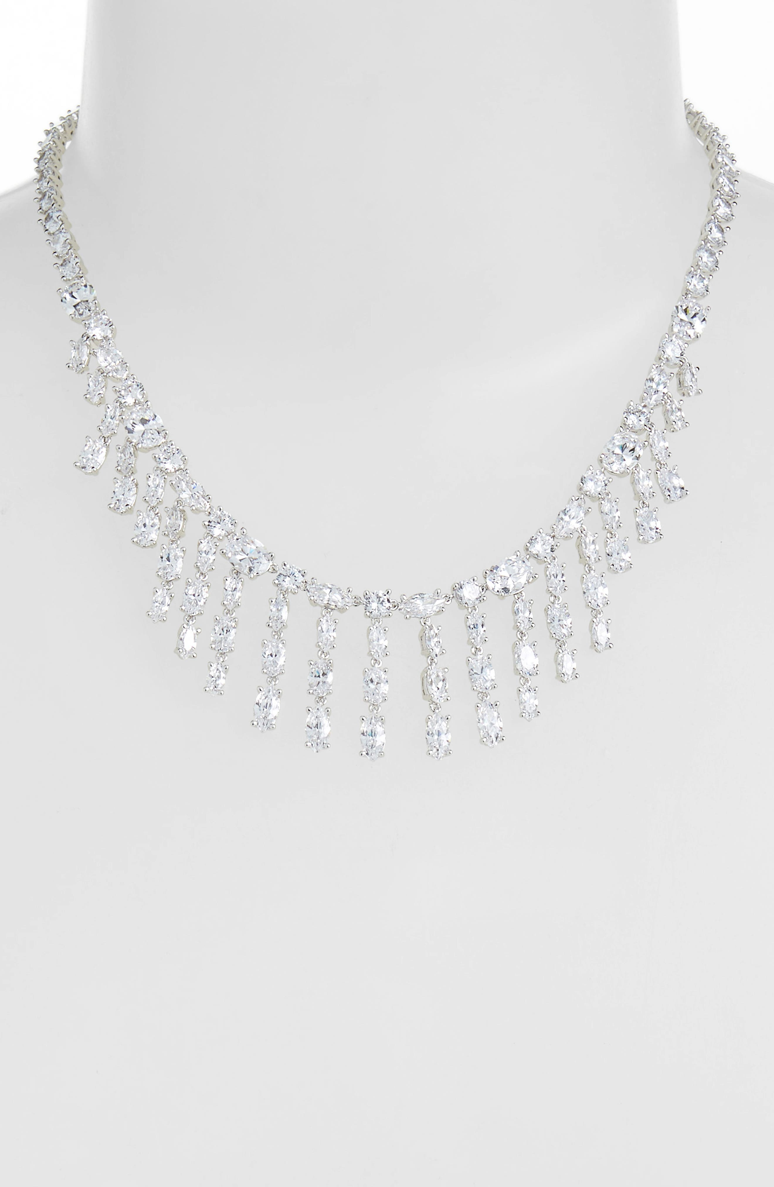 Cubic Zirconia Fringe Necklace,                             Alternate thumbnail 2, color,                             CLEAR- SILVER