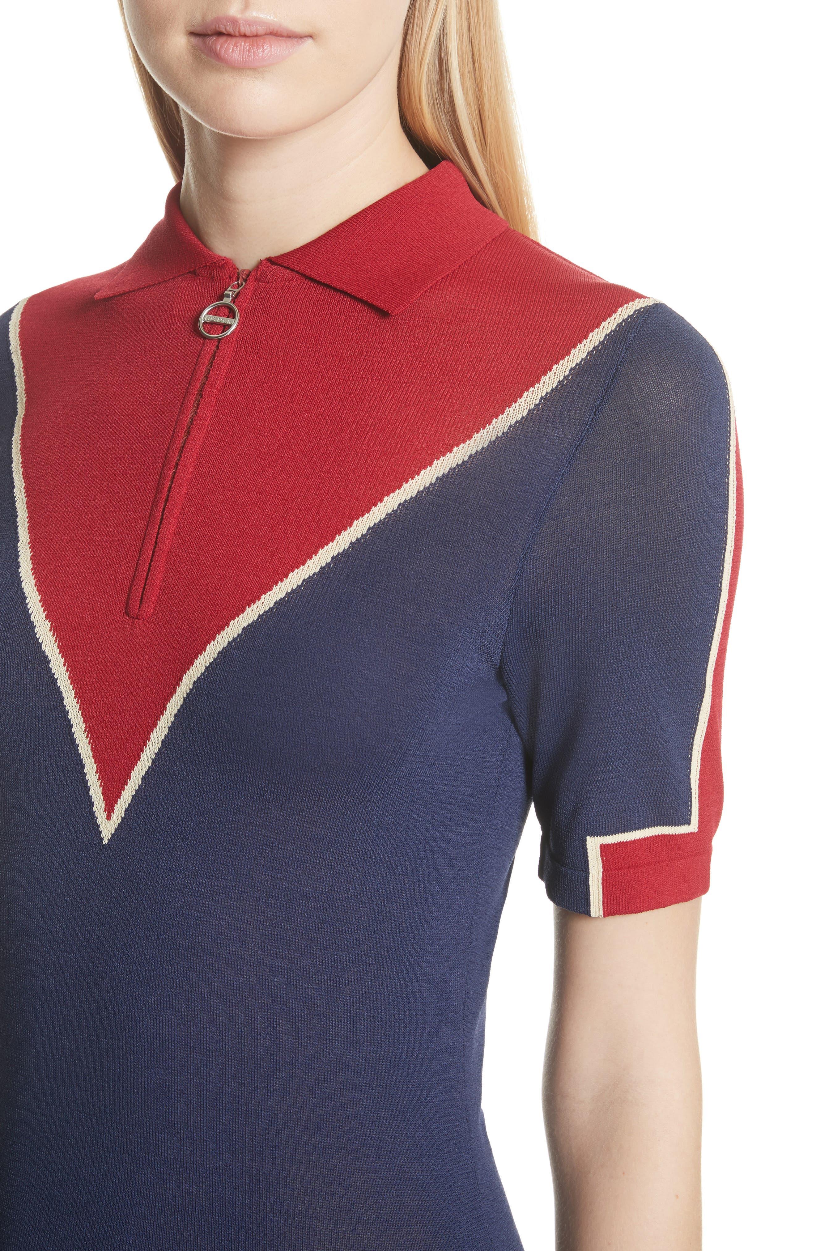 Chevron Knit Dress,                             Alternate thumbnail 4, color,                             416