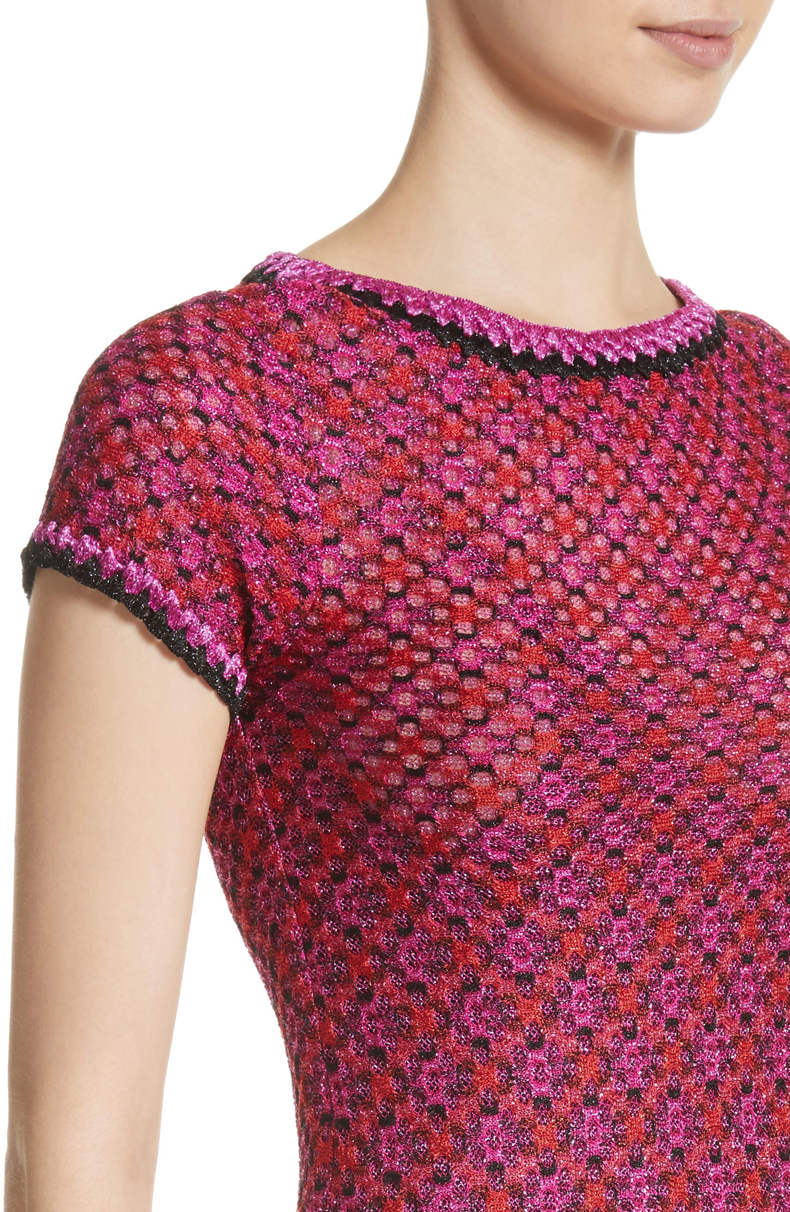 Metallic Zigzag Knit Dress,                             Alternate thumbnail 4, color,                             650