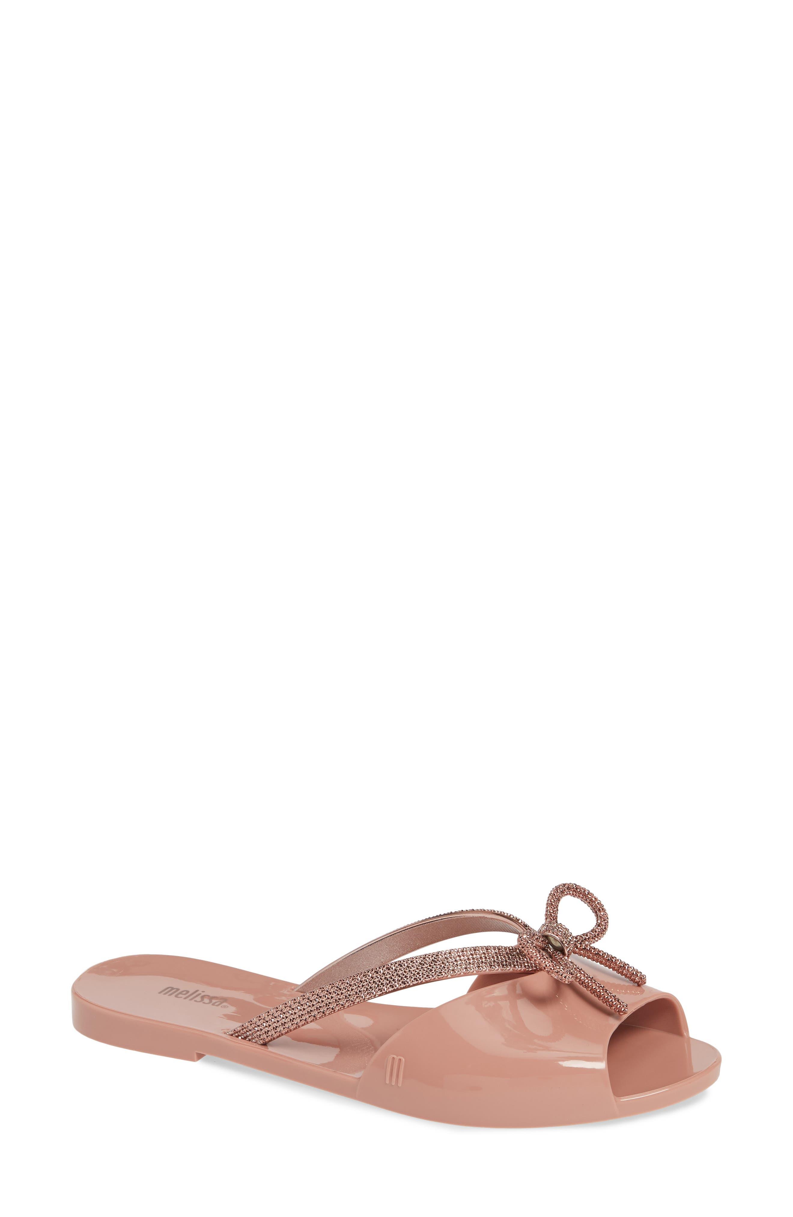 Women'S Ela Chrome Slide Sandals in Metallic Pink Rubber
