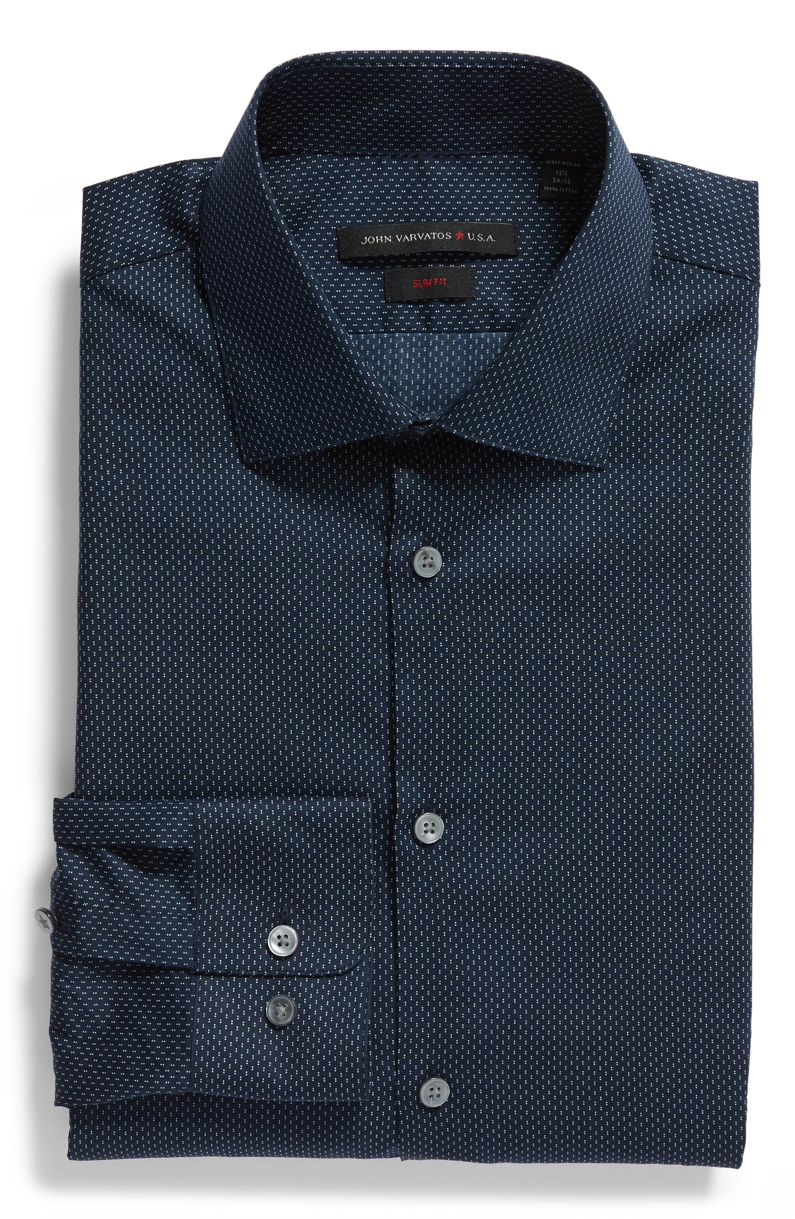 Slim Fit Dot Dress Shirt,                             Alternate thumbnail 5, color,                             INDIGO