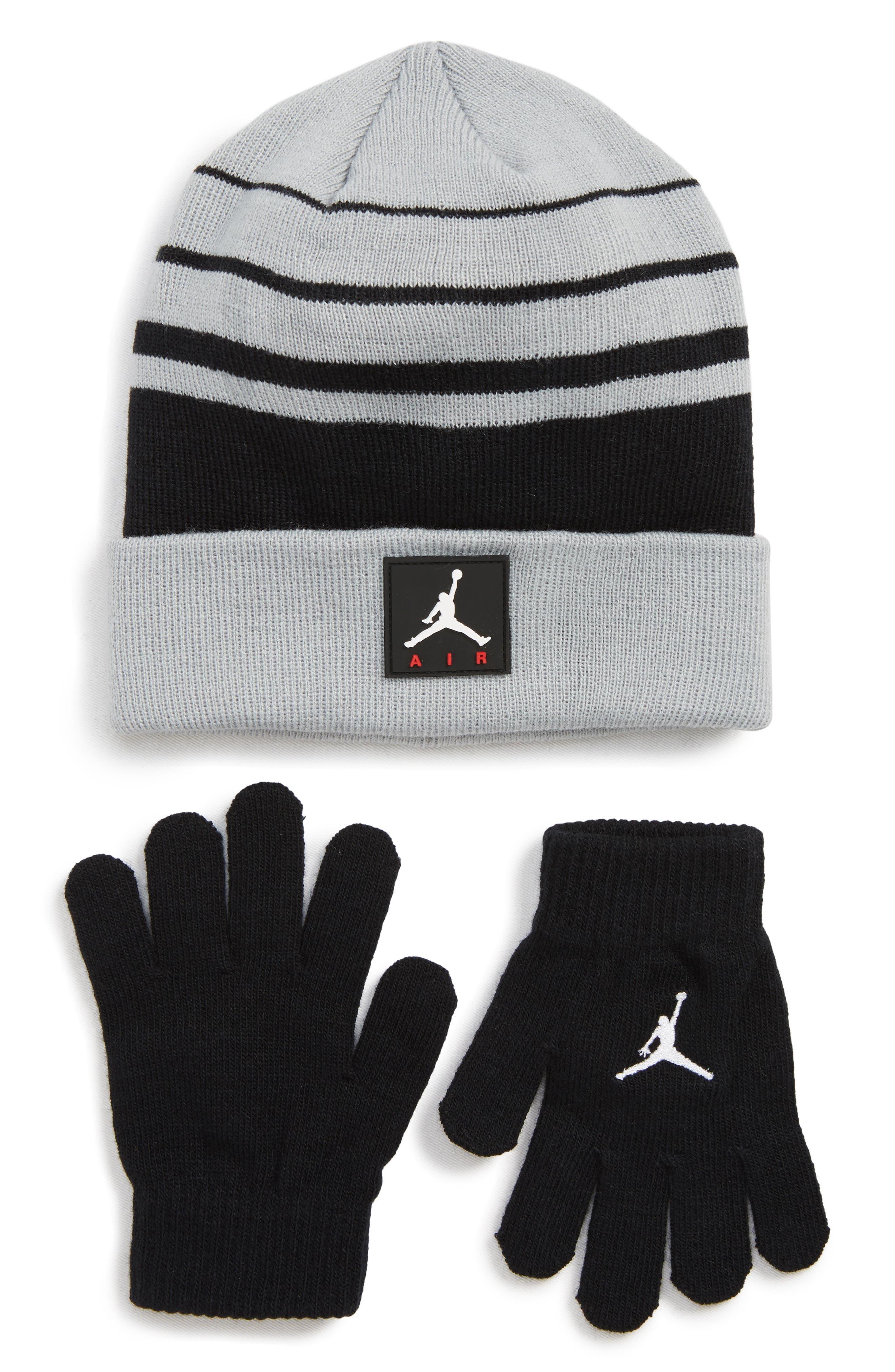 Boys Jordan Air Beanie  Gloves Set  Grey