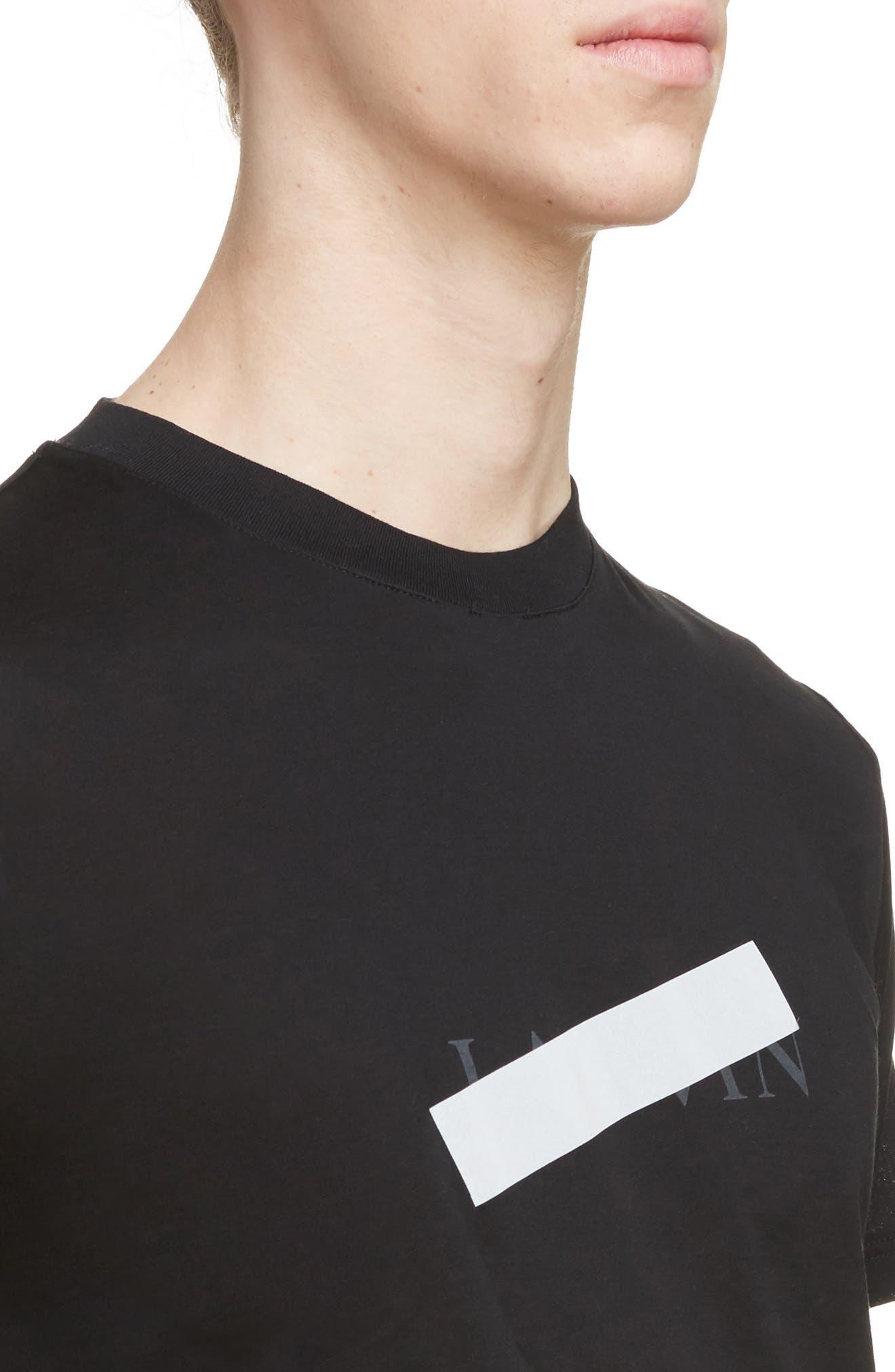 Reflective Tape Logo T-Shirt,                             Alternate thumbnail 4, color,                             BLACK
