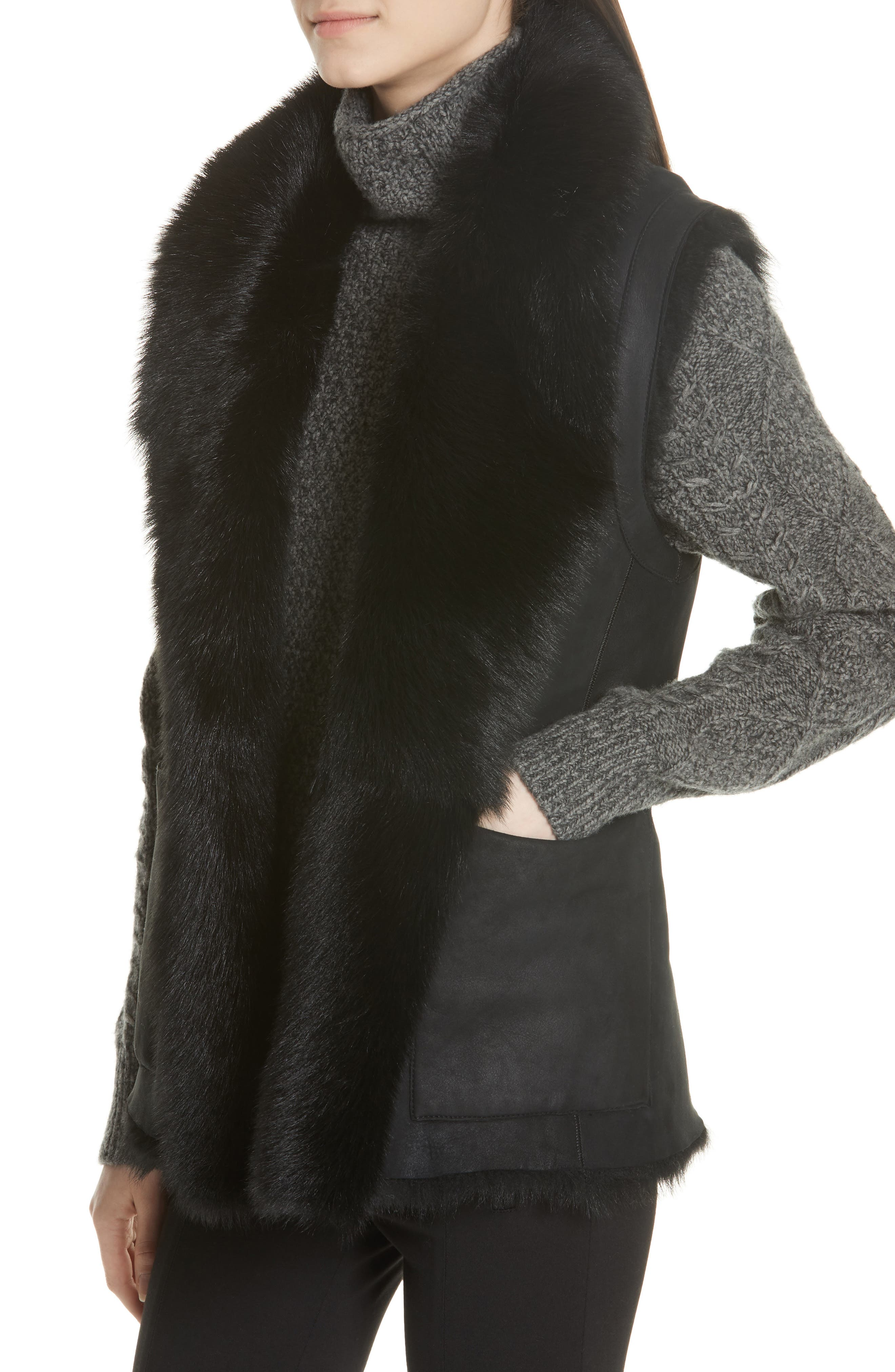 Genuine Toscana Shearling Vest,                             Alternate thumbnail 4, color,                             BLACK