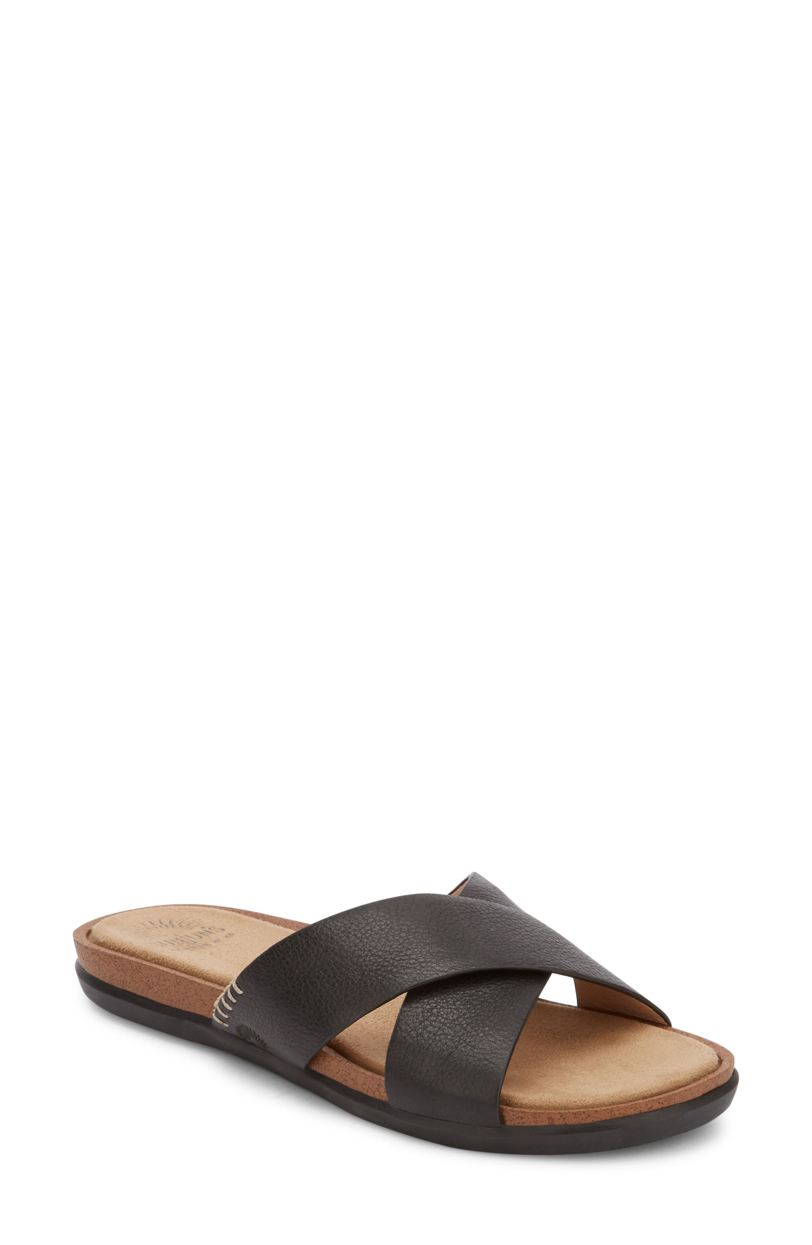 Stella Slide Sandal,                         Main,                         color, BLACK LEATHER