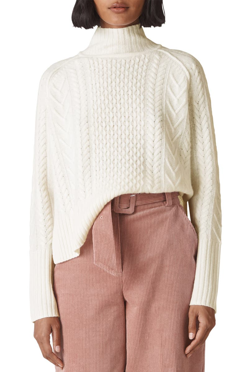 Whistles Funnel Neck Cable Wool Sweater In Ivory   ModeSens