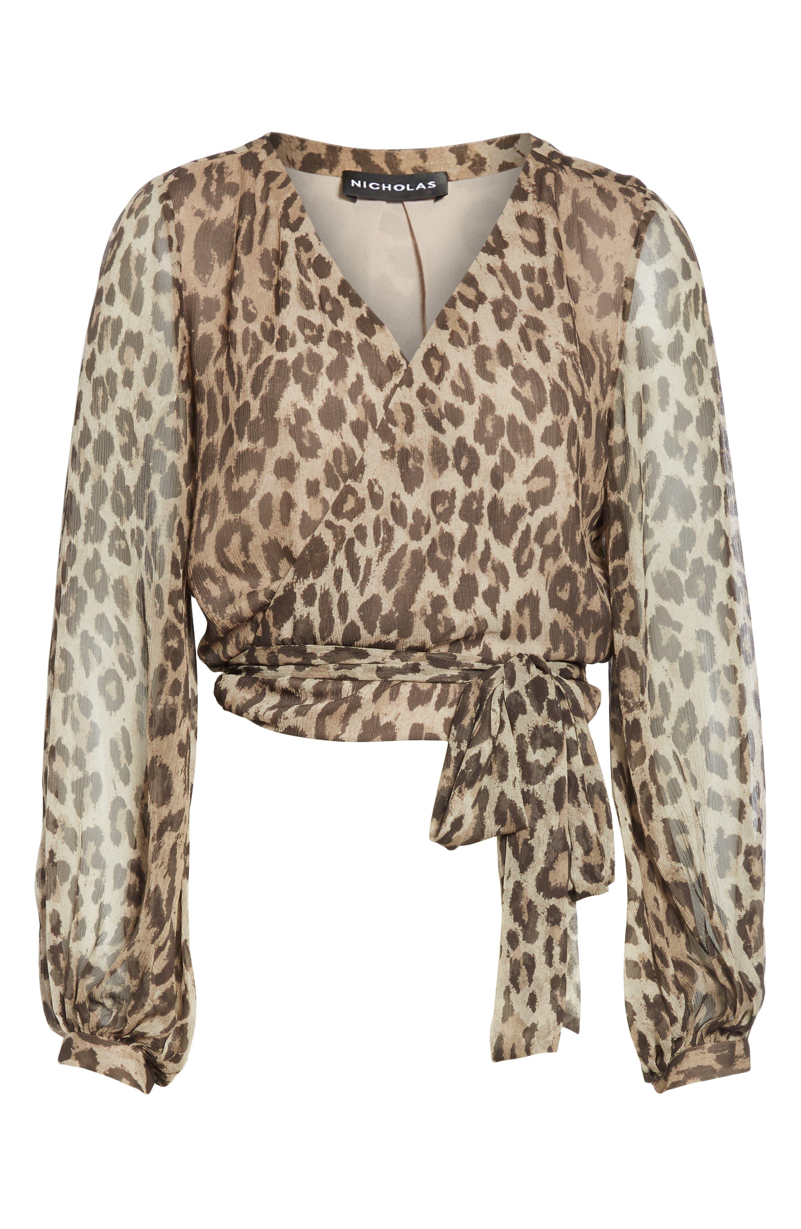 Leopard Print Silk Wrap Top,                             Alternate thumbnail 6, color,                             200