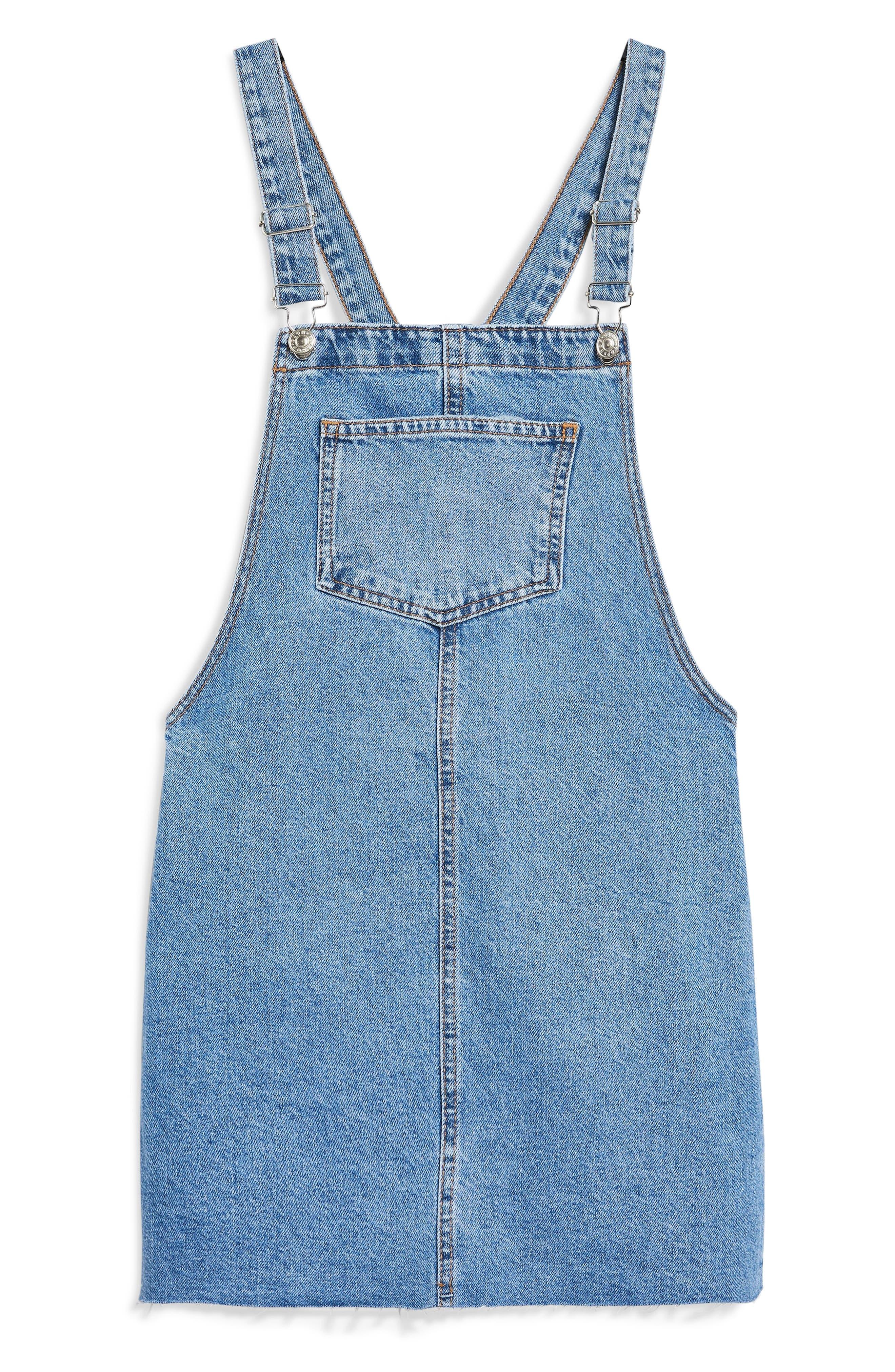 Raw Hem Denim Pinafore Dress,                             Alternate thumbnail 4, color,                             420