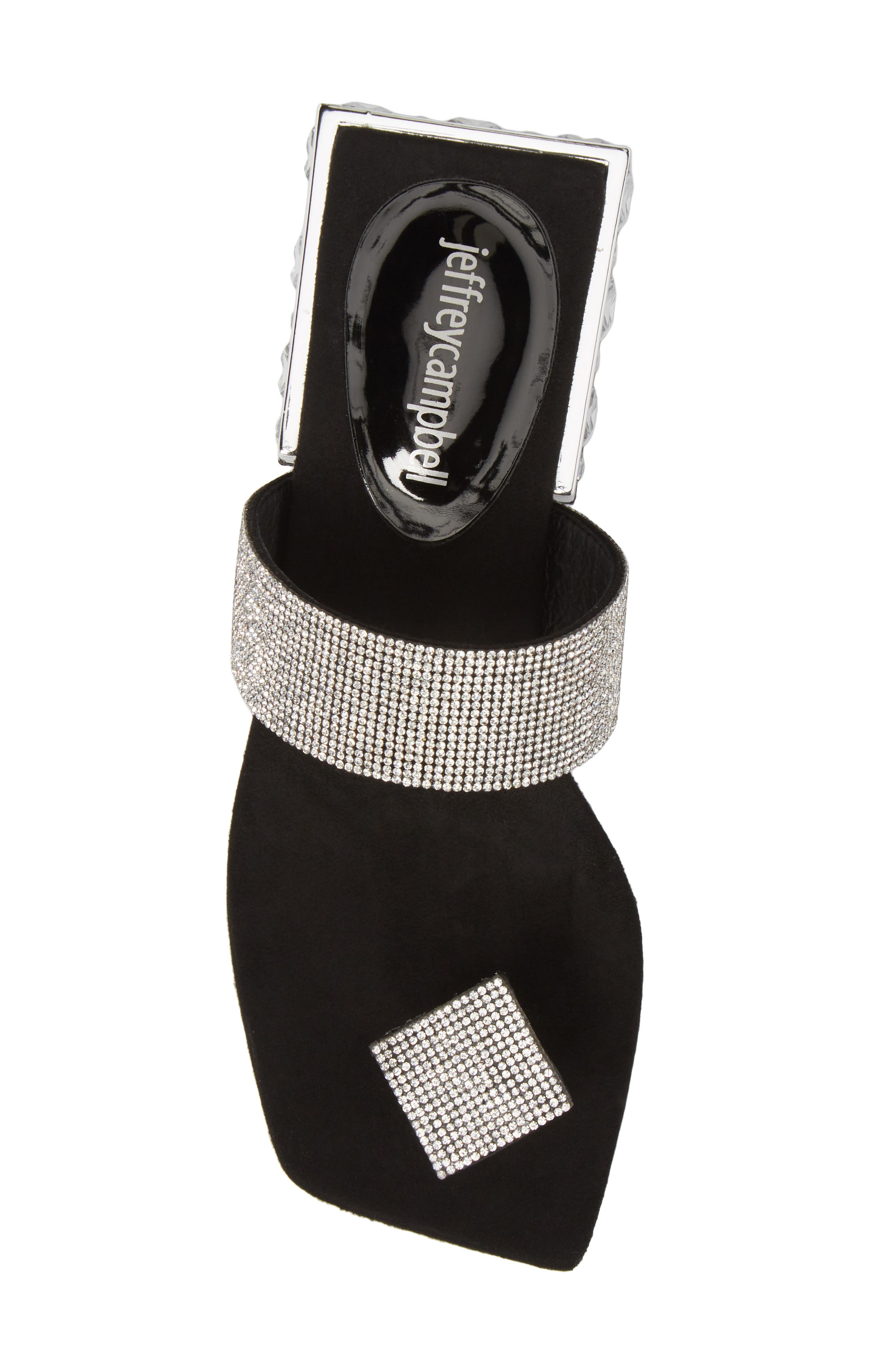 Alise Embellished Sandal,                             Alternate thumbnail 5, color,                             BLACK SUEDE/ SILVER