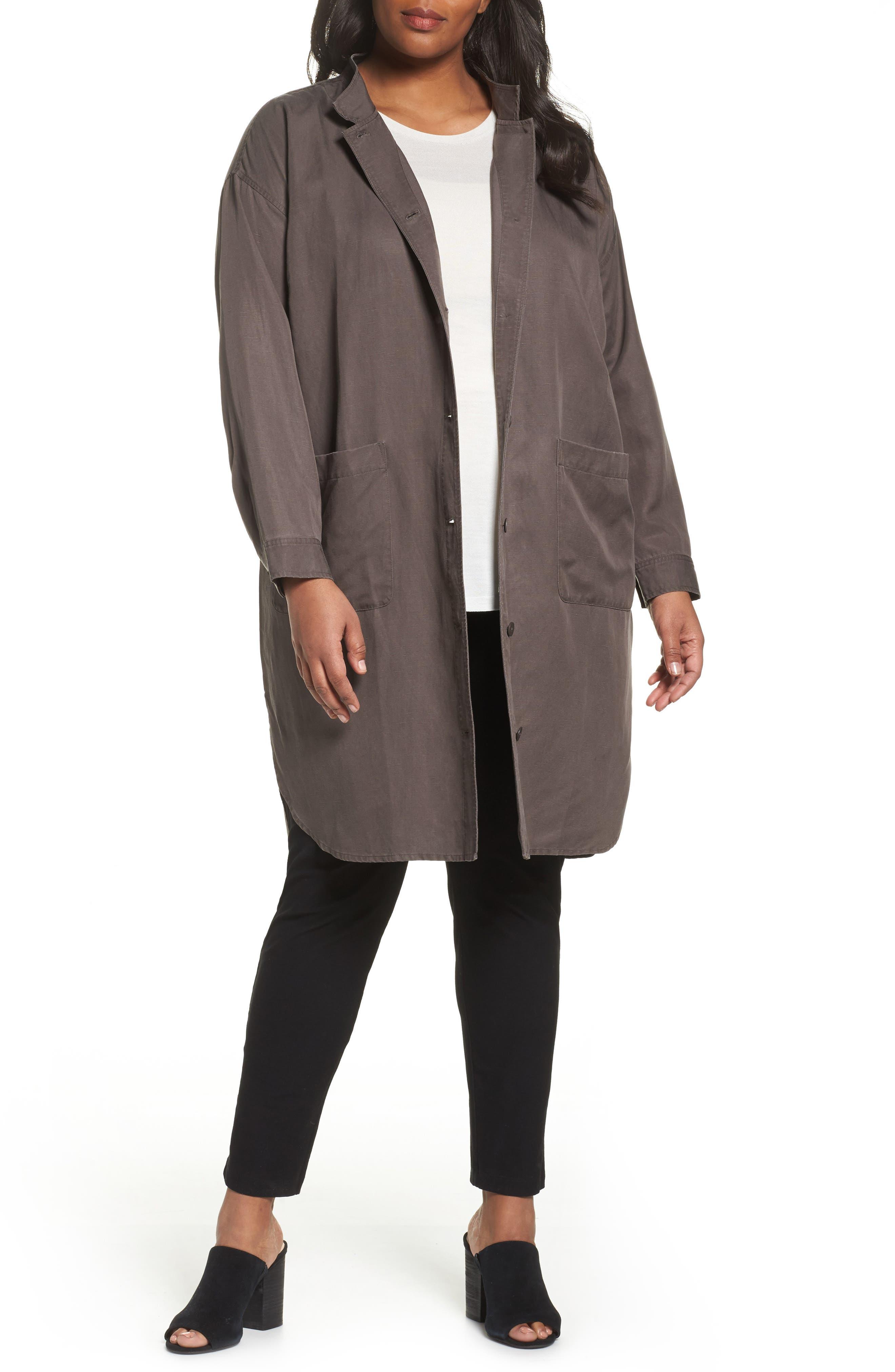 Long Tencel<sup>®</sup> Lyocell & Linen Jacket,                         Main,                         color,