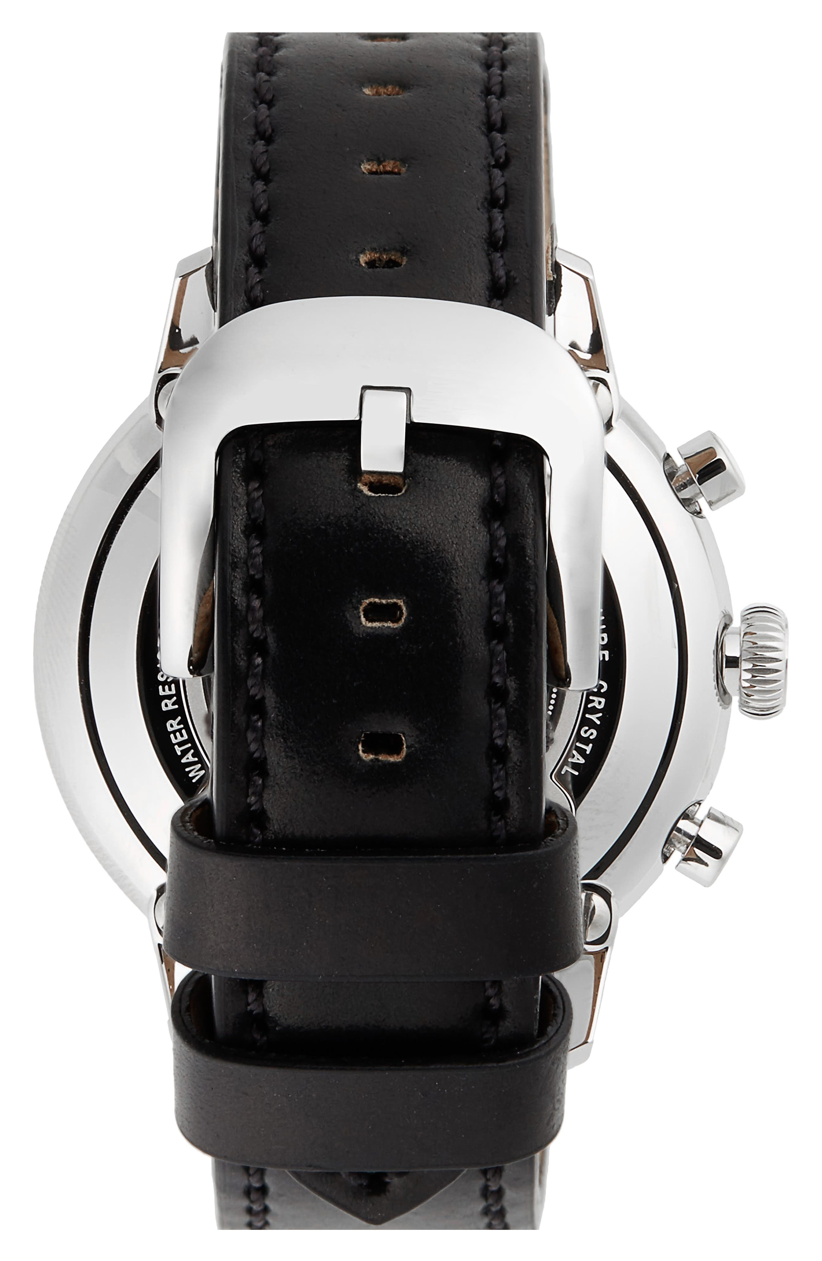 The Bedrock Chronograph Leather Strap Watch, 42mm,                             Alternate thumbnail 2, color,                             BLACK/ WHITE/ SILVER