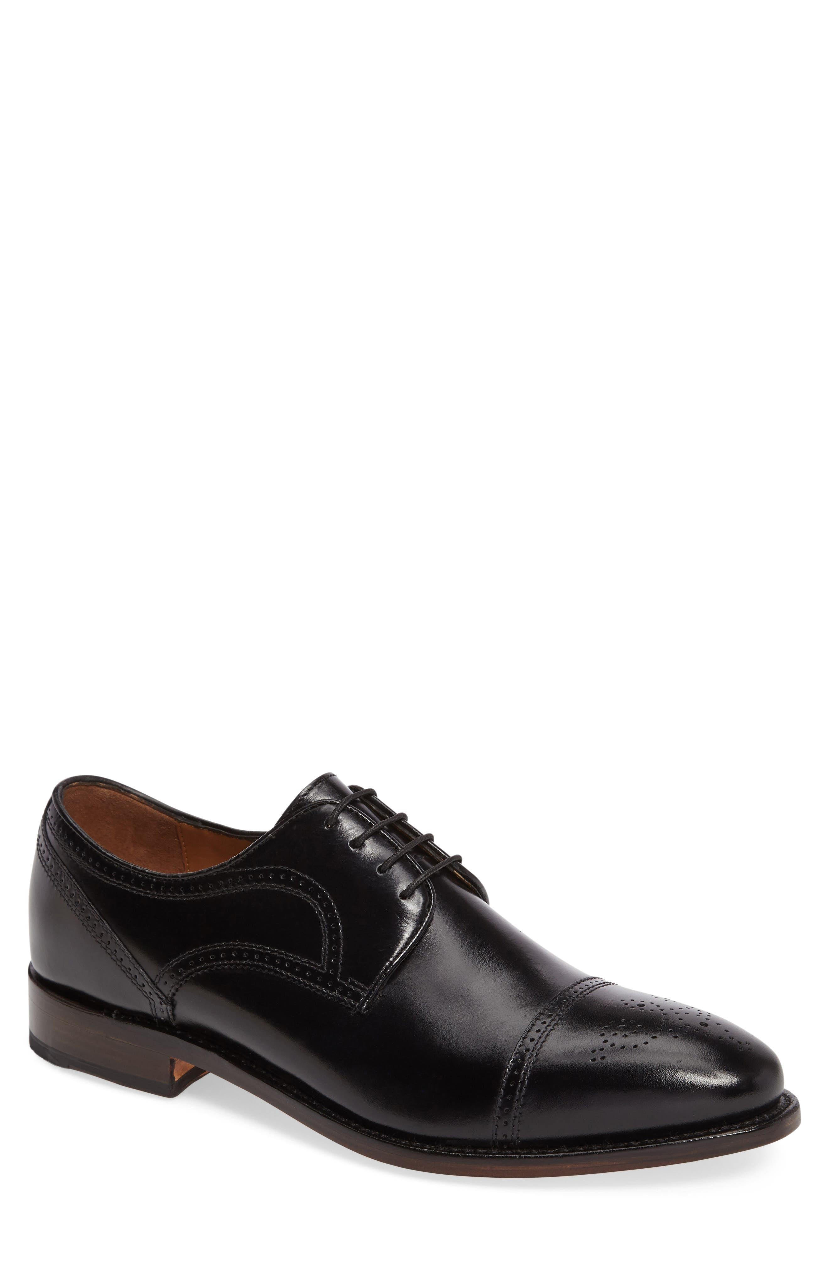 Collins Cap Toe Oxford,                         Main,                         color, BLACK CALFSKIN