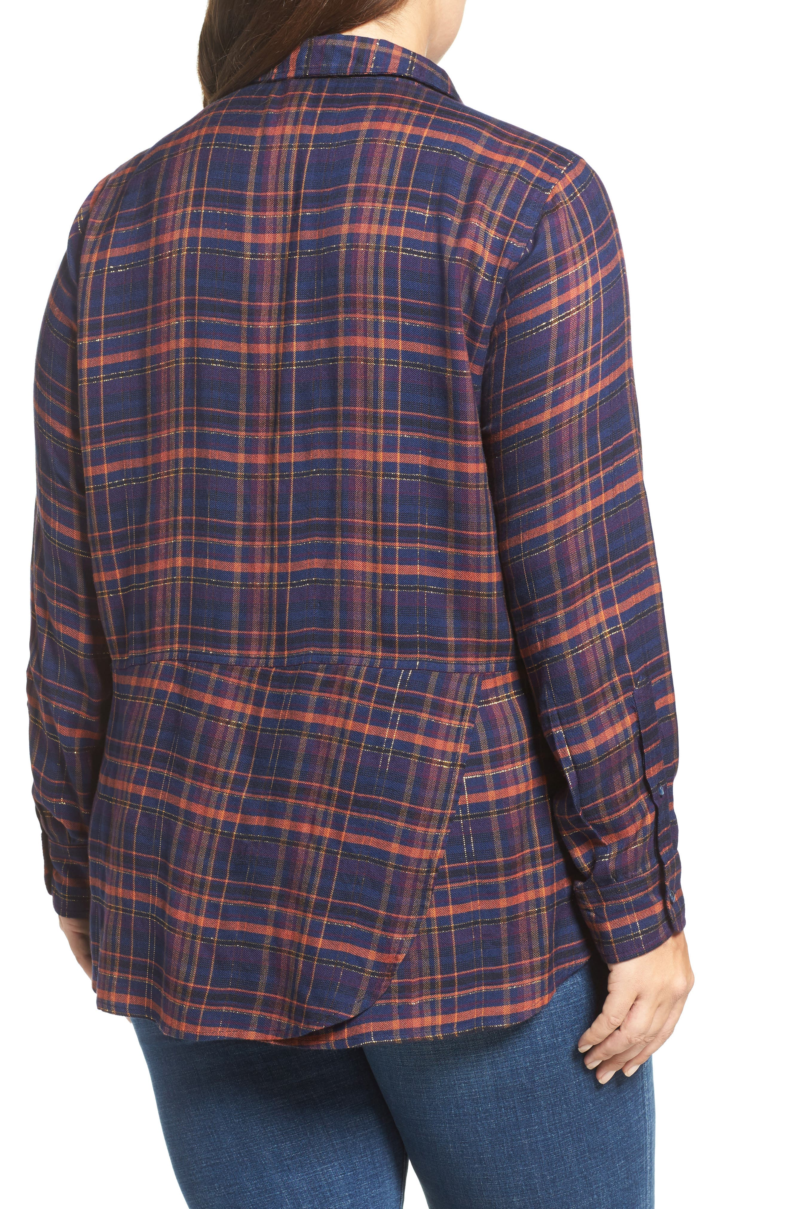 Back Overlay Plaid Shirt,                             Alternate thumbnail 3, color,                             460