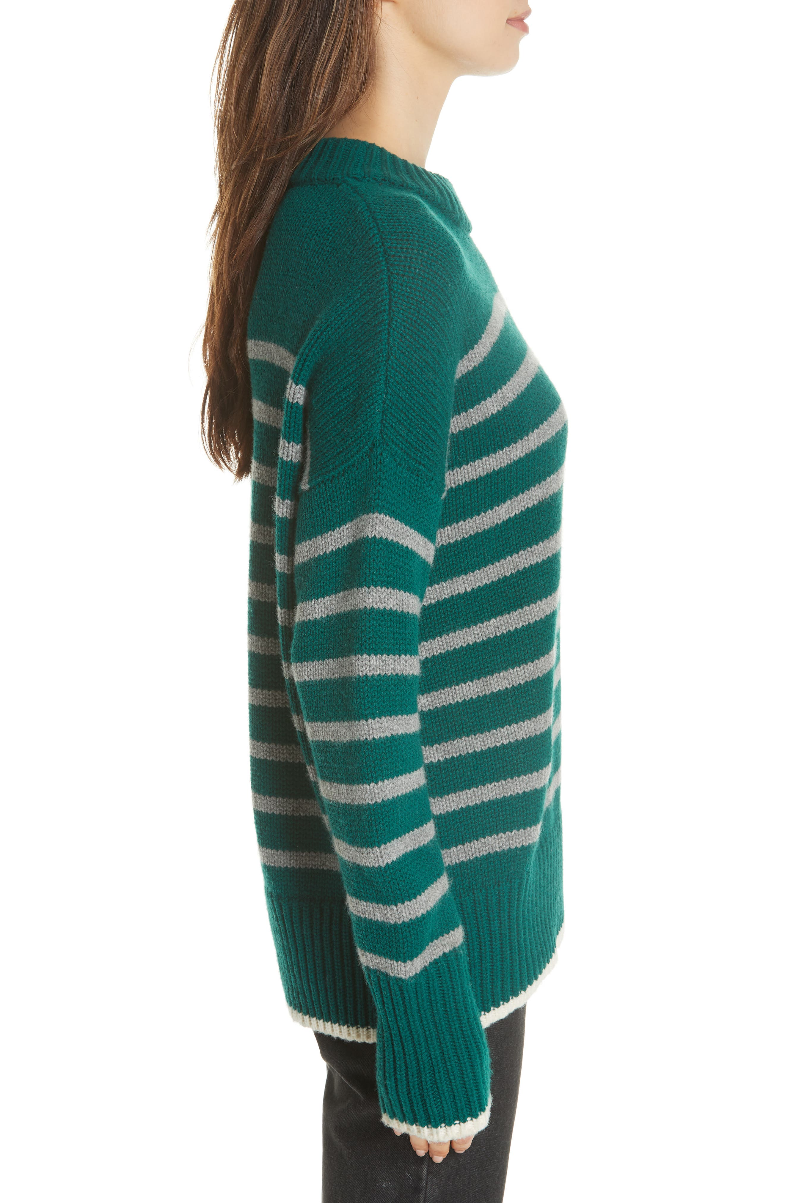 Marin Wool & Cashmere Sweater,                             Alternate thumbnail 3, color,                             FOREST GREEN/ GREY MARLE