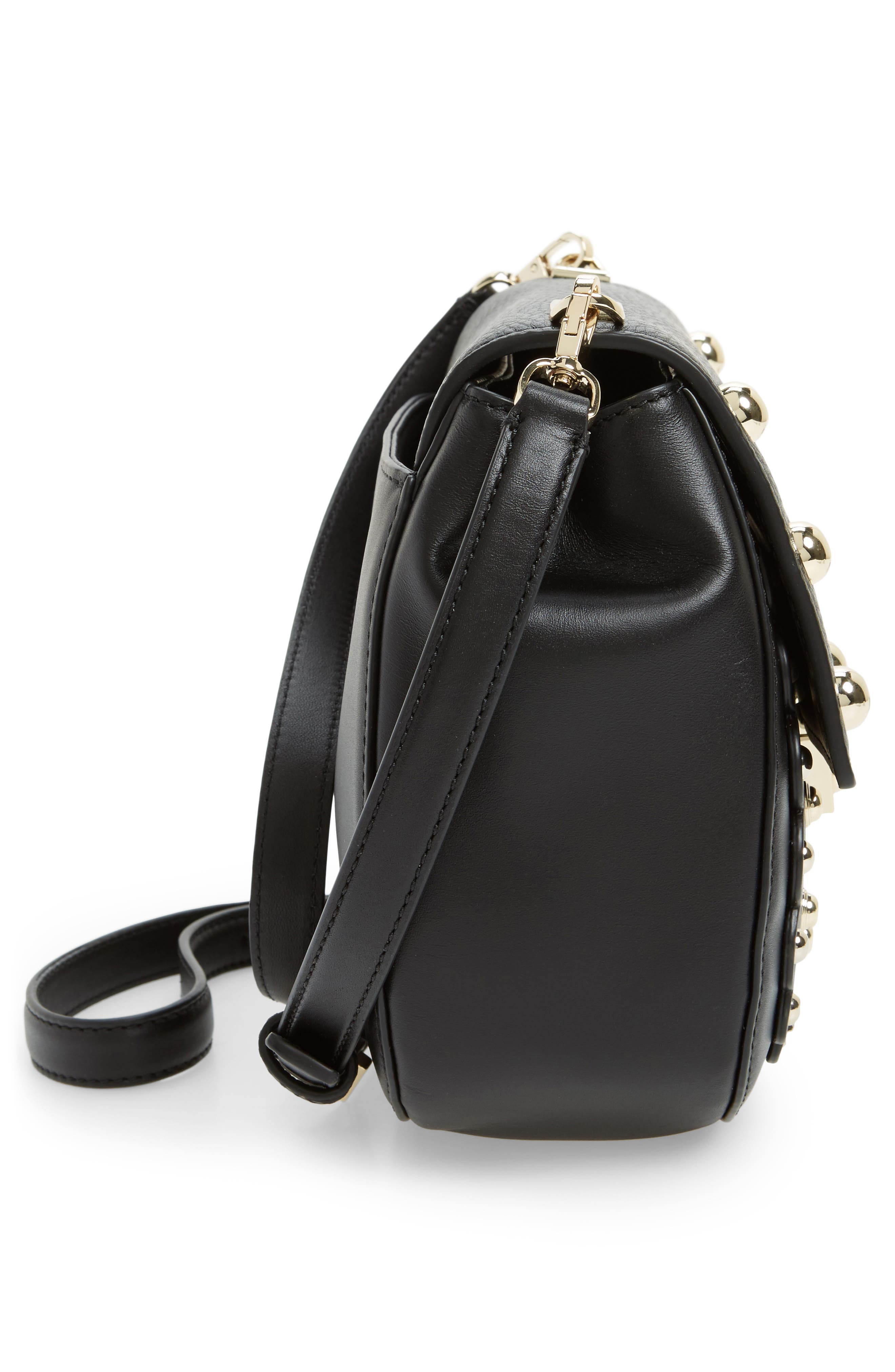 madison stewart street - byrdie studded leather crossbody bag,                             Alternate thumbnail 5, color,                             001