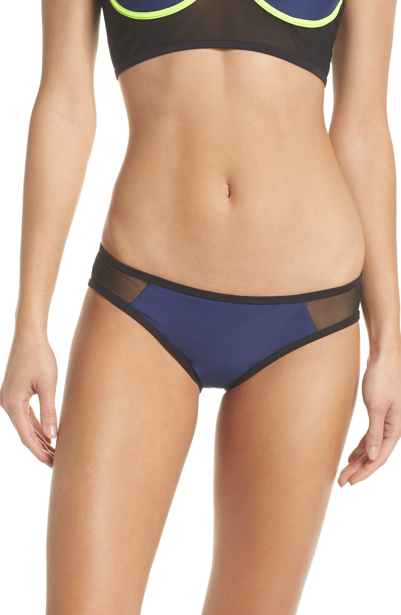Racer Hipster Bikini Bottoms,                             Main thumbnail 1, color,                             BLUE/ BLACK