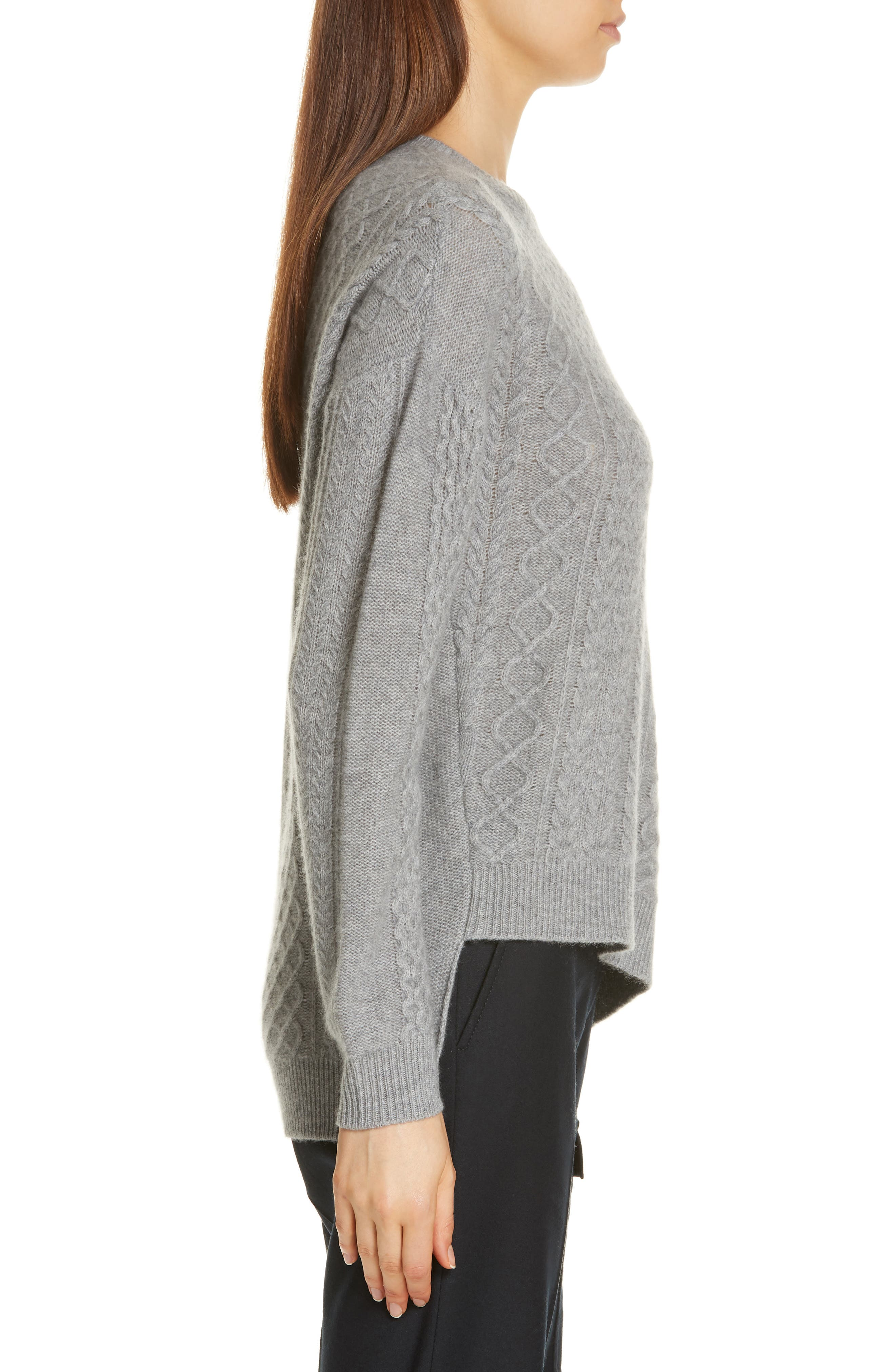 Cable Mix Asymmetrical Cashmere Sweater,                             Alternate thumbnail 3, color,                             GREY FILIGREE HR