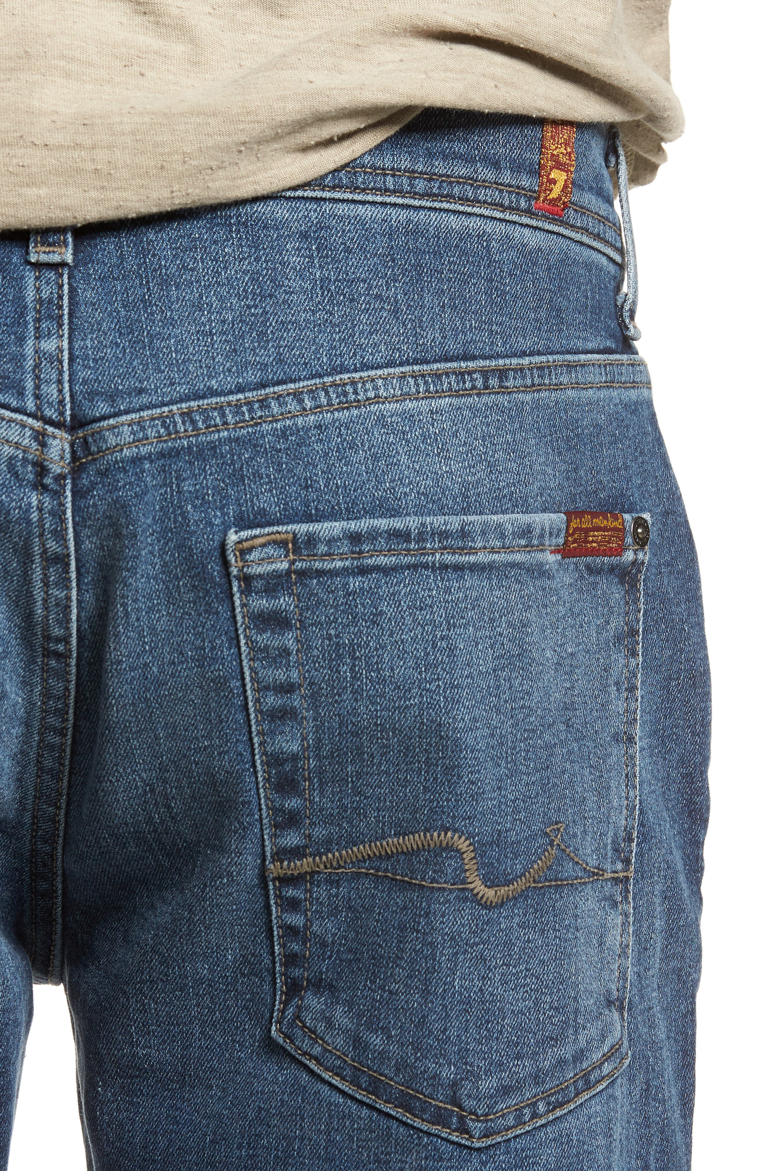 The Straight Slim Straight Fit Jeans,                             Alternate thumbnail 4, color,                             SINAI
