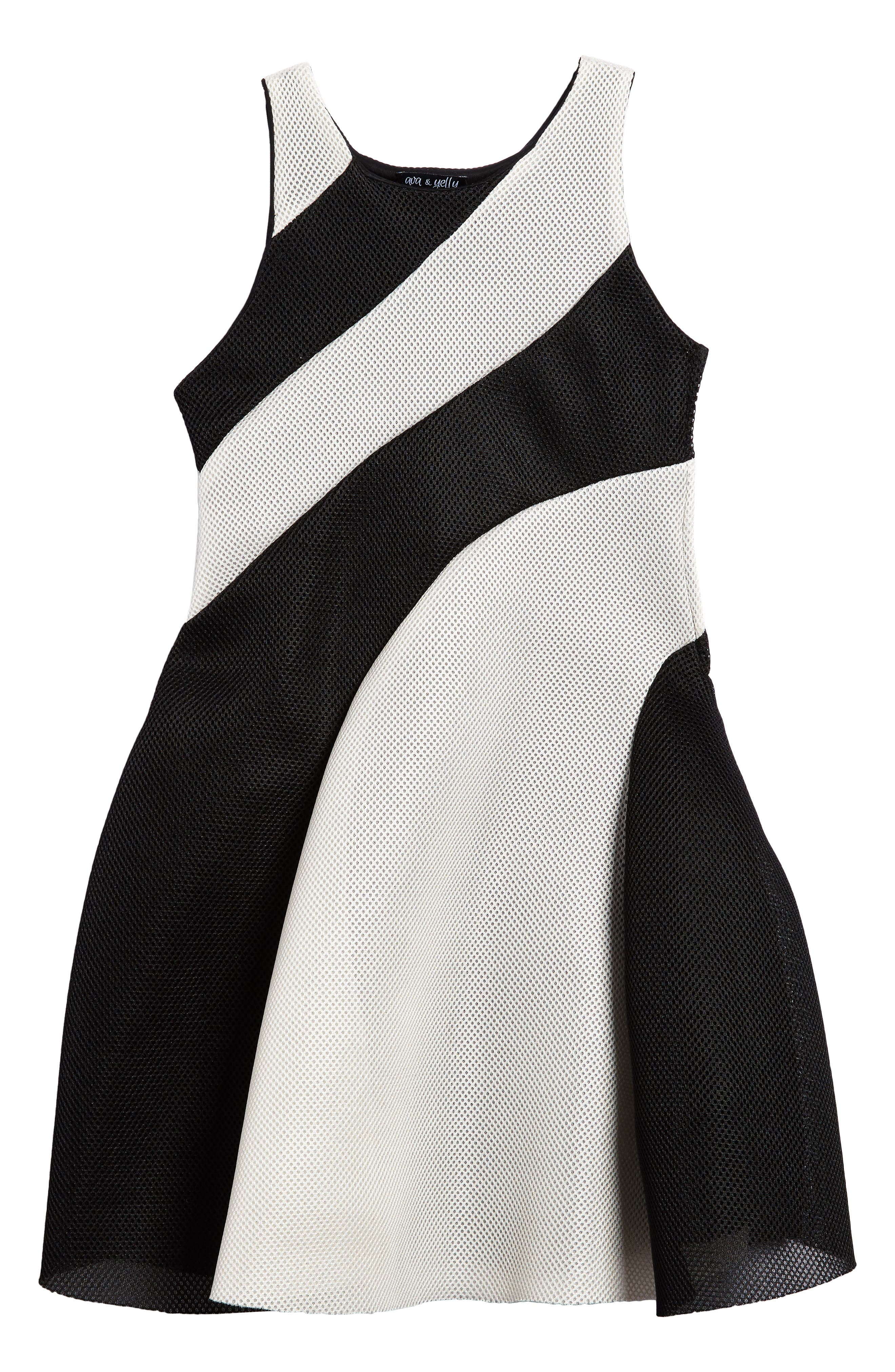 Techno Mesh Skater Dress,                         Main,                         color, 001