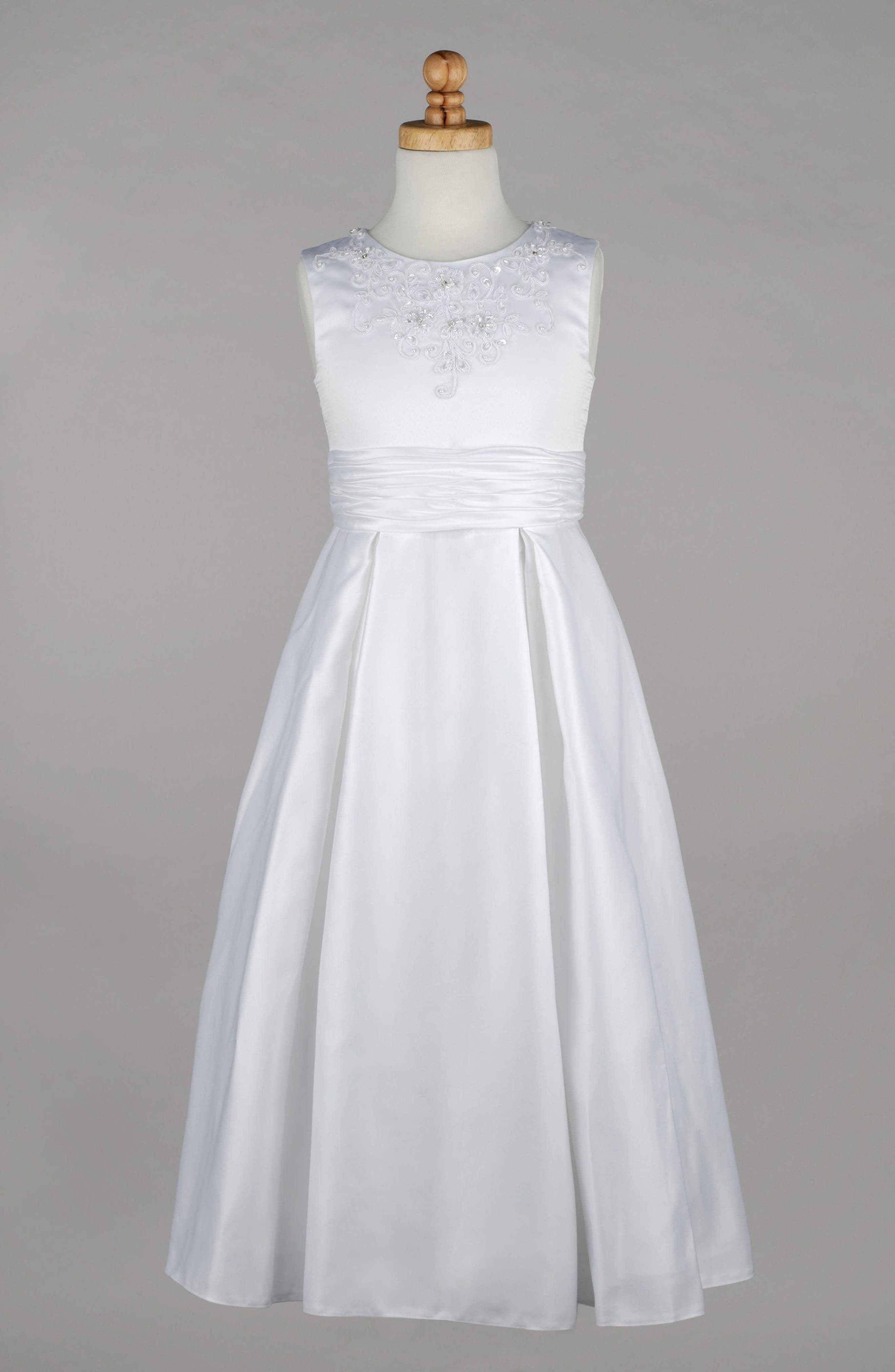 Beaded First Communion Dress,                             Alternate thumbnail 4, color,                             WHITE