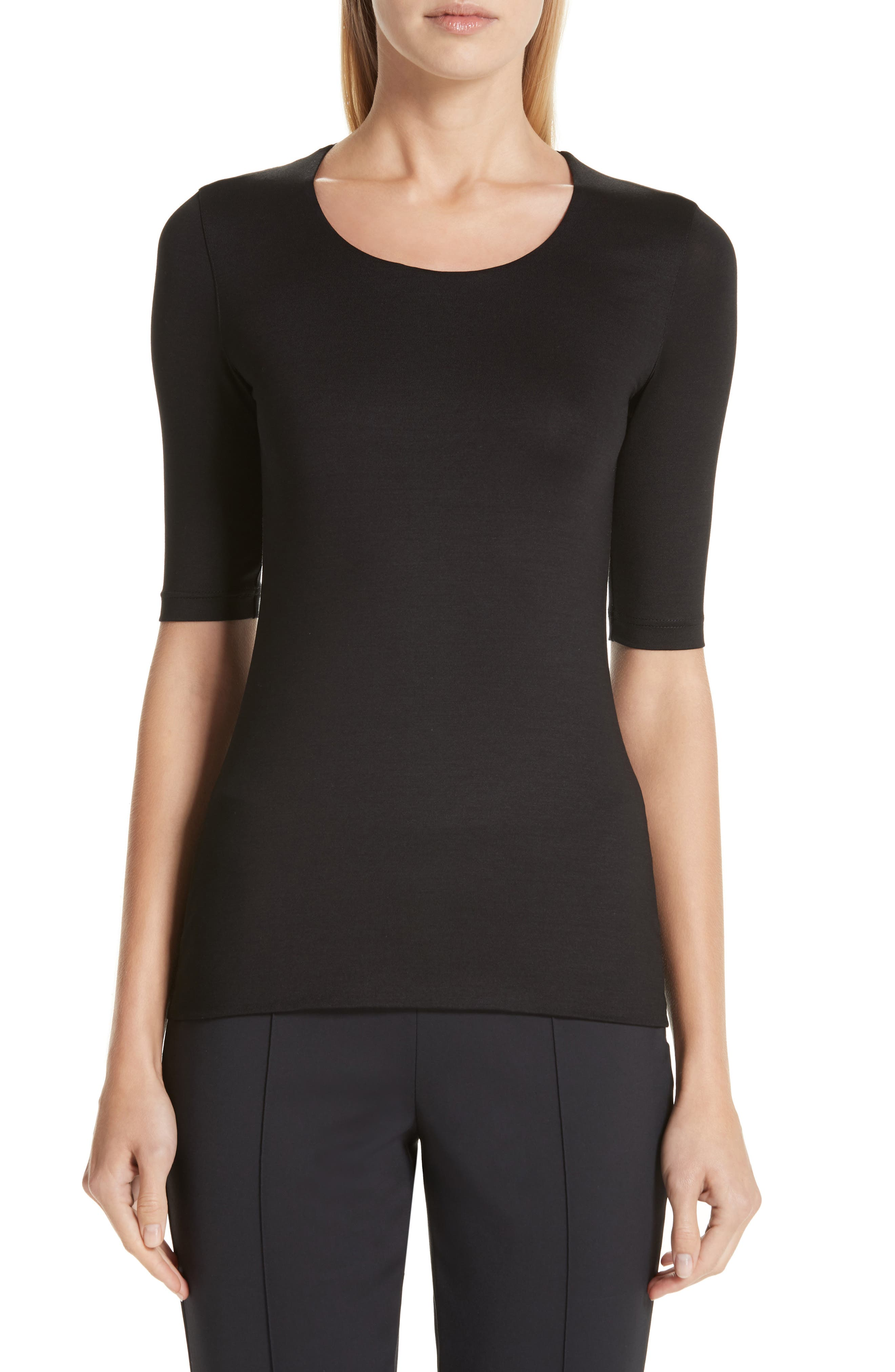 Stretch Silk Jersey Top,                             Main thumbnail 1, color,                             009-BLACK
