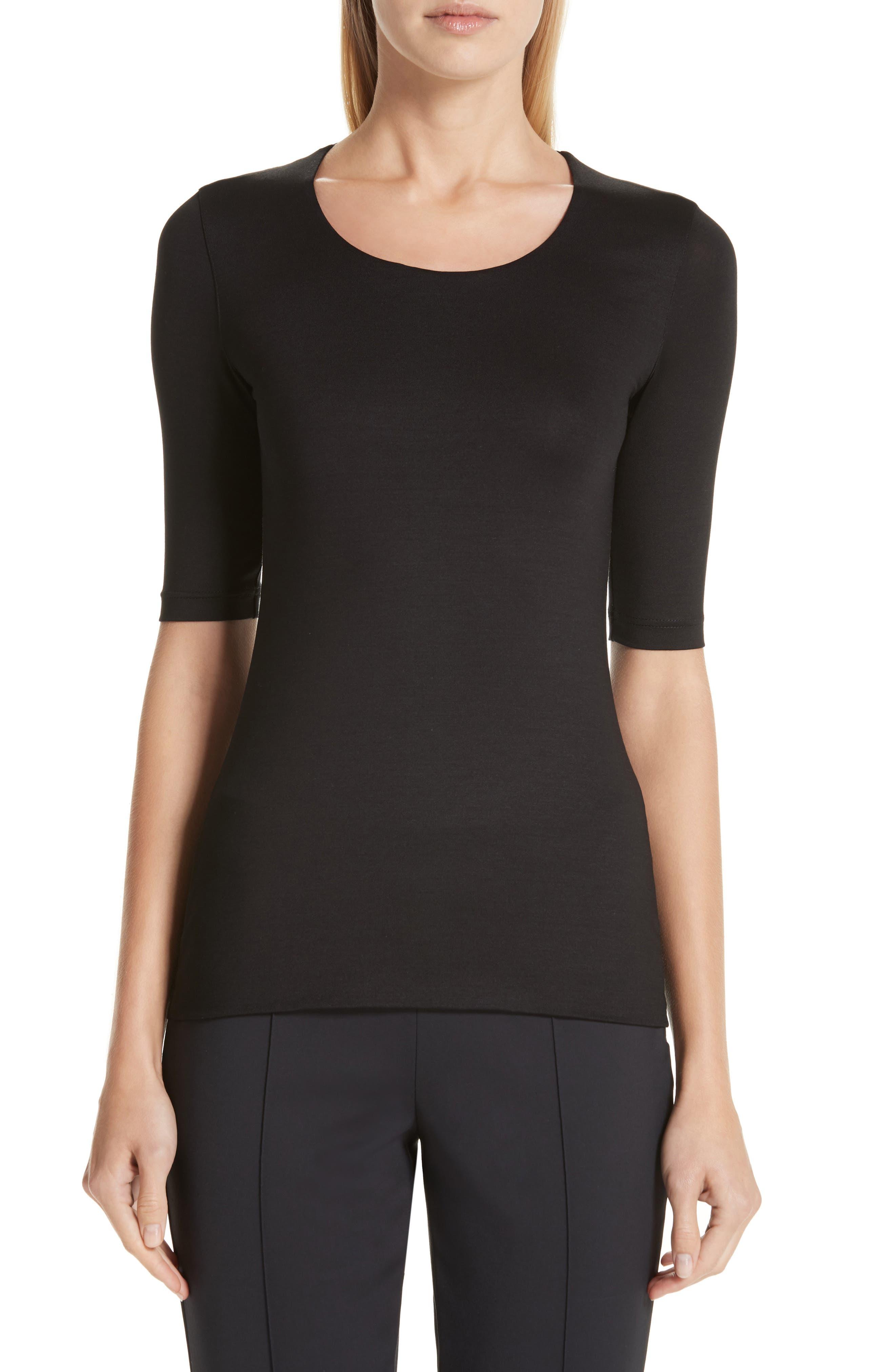 Stretch Silk Jersey Top, Main, color, 009-BLACK