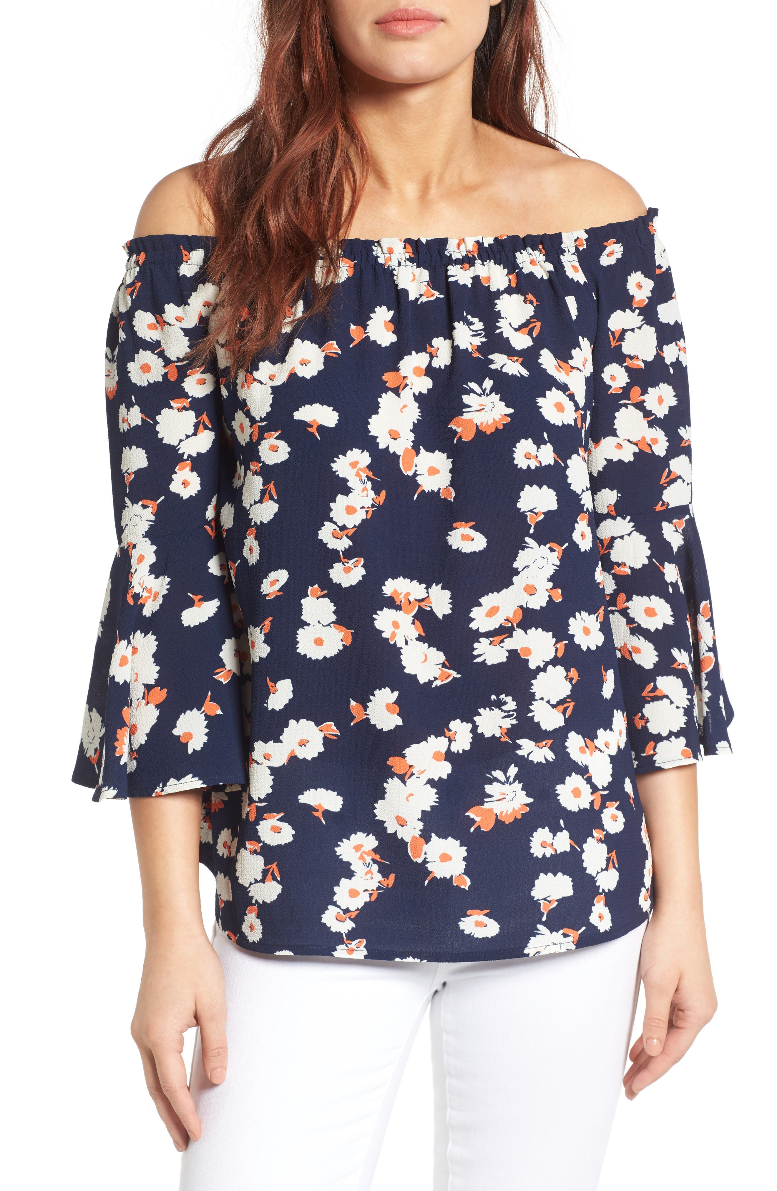 Bell Sleeve Off the Shoulder Blouse,                             Main thumbnail 2, color,