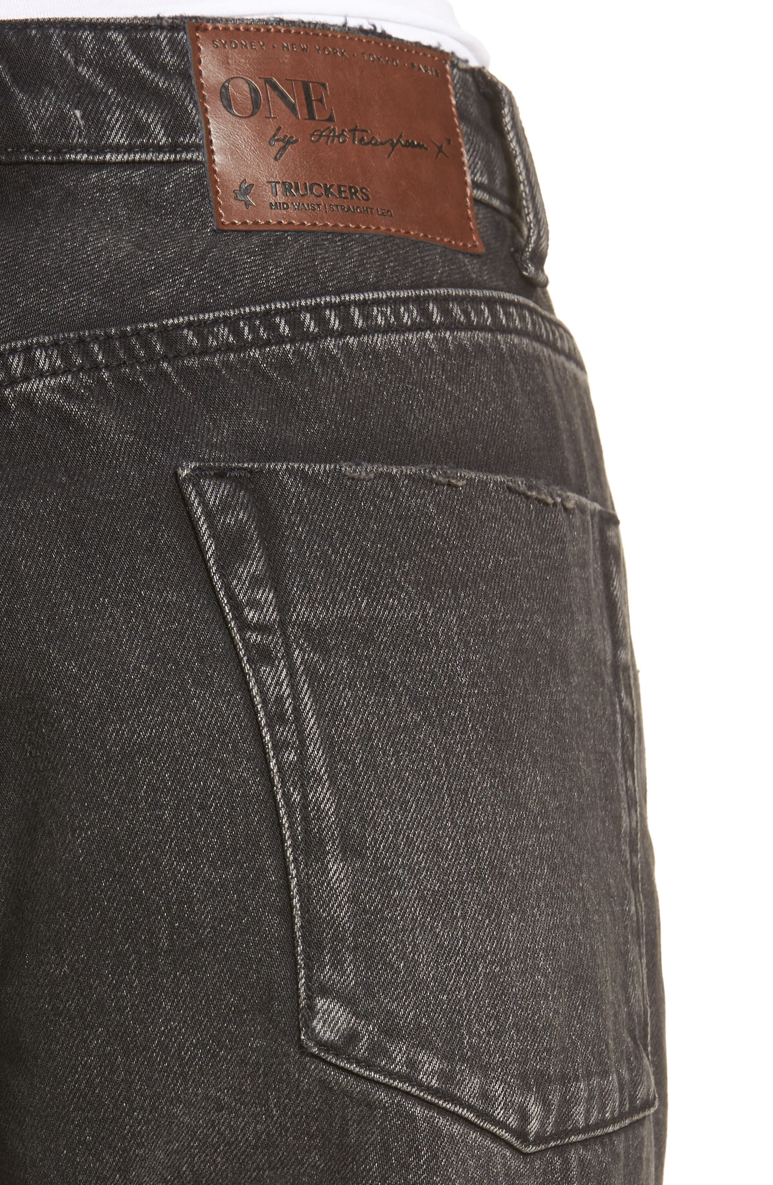 Truckers Straight Leg Jeans,                             Alternate thumbnail 4, color,                             001