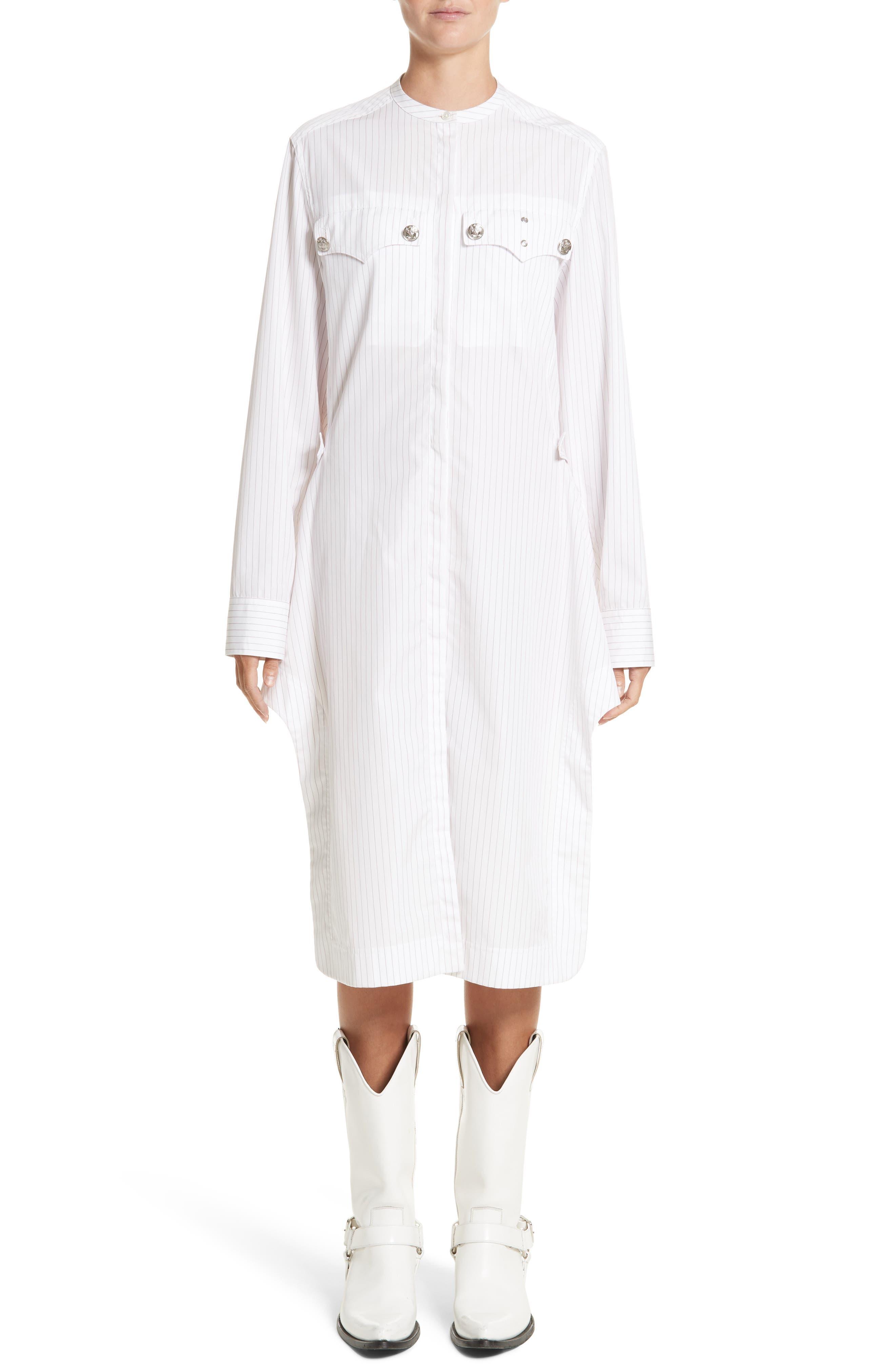 Pinstripe Cotton Poplin Dress,                             Main thumbnail 1, color,                             100
