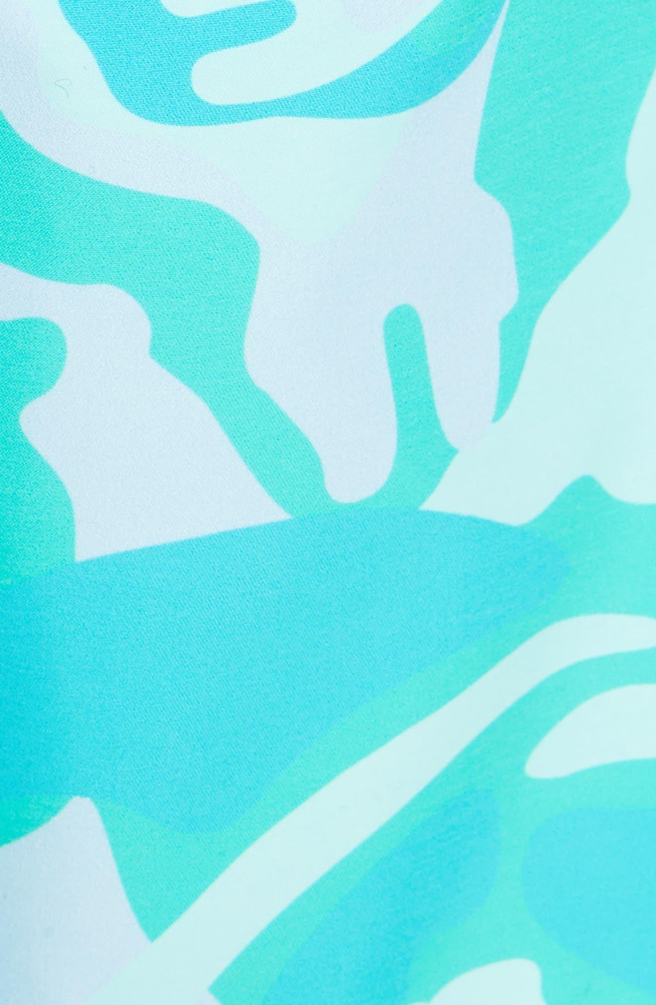 Camo Turtle Print Swim Trunks,                             Alternate thumbnail 5, color,                             450