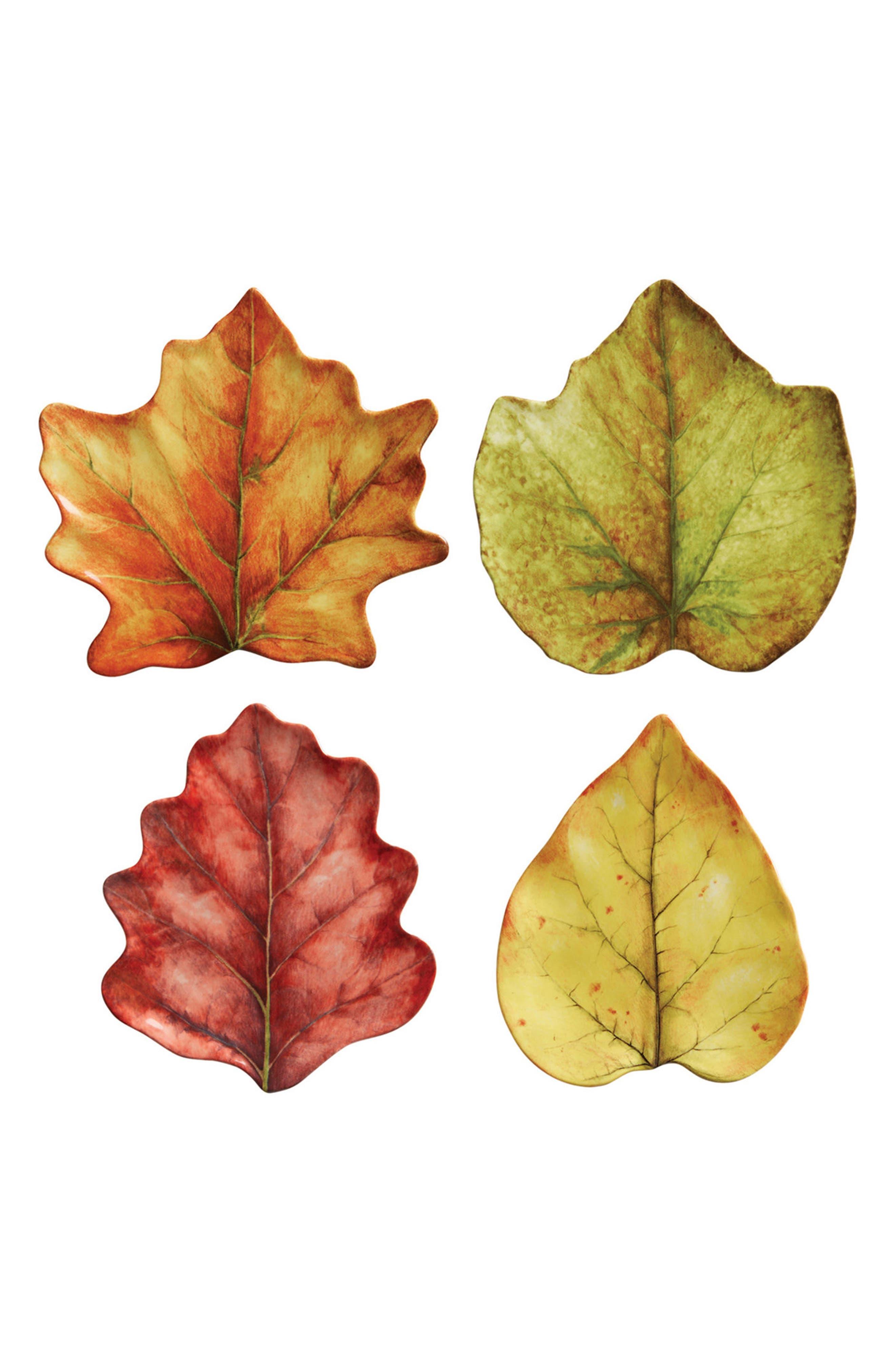 Forest Walk Set of 4 Leaf Plates,                             Main thumbnail 1, color,                             CAF AU LAIT