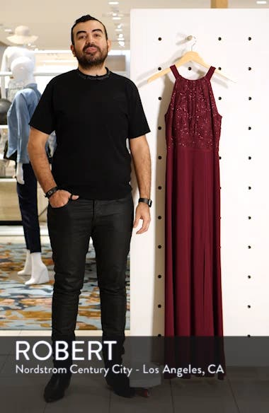 Pleat Lace Bodice Evening Dress, sales video thumbnail