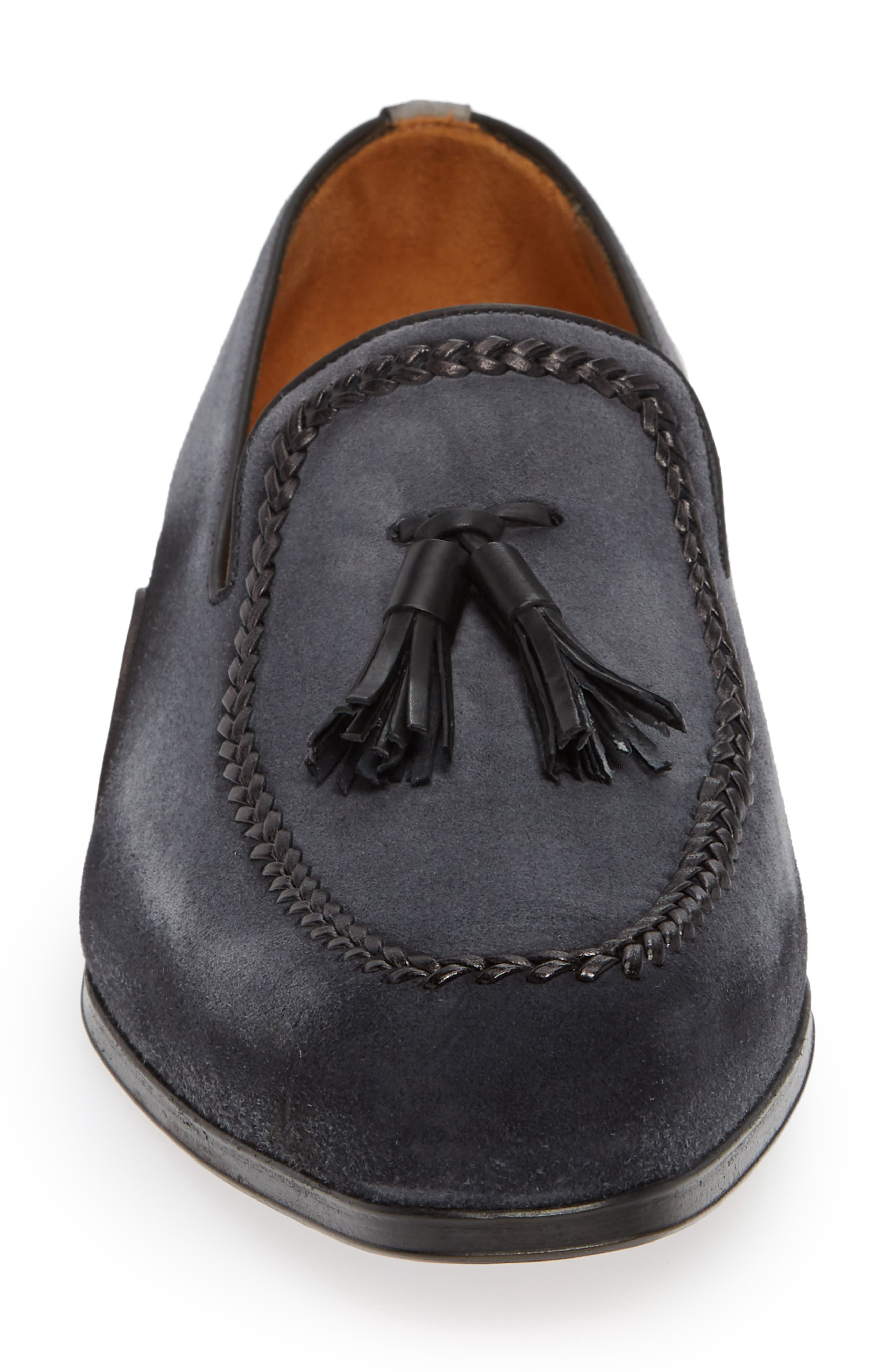 Plazza Tasseled Venetian Loafer,                             Alternate thumbnail 4, color,                             GREY SUEDE
