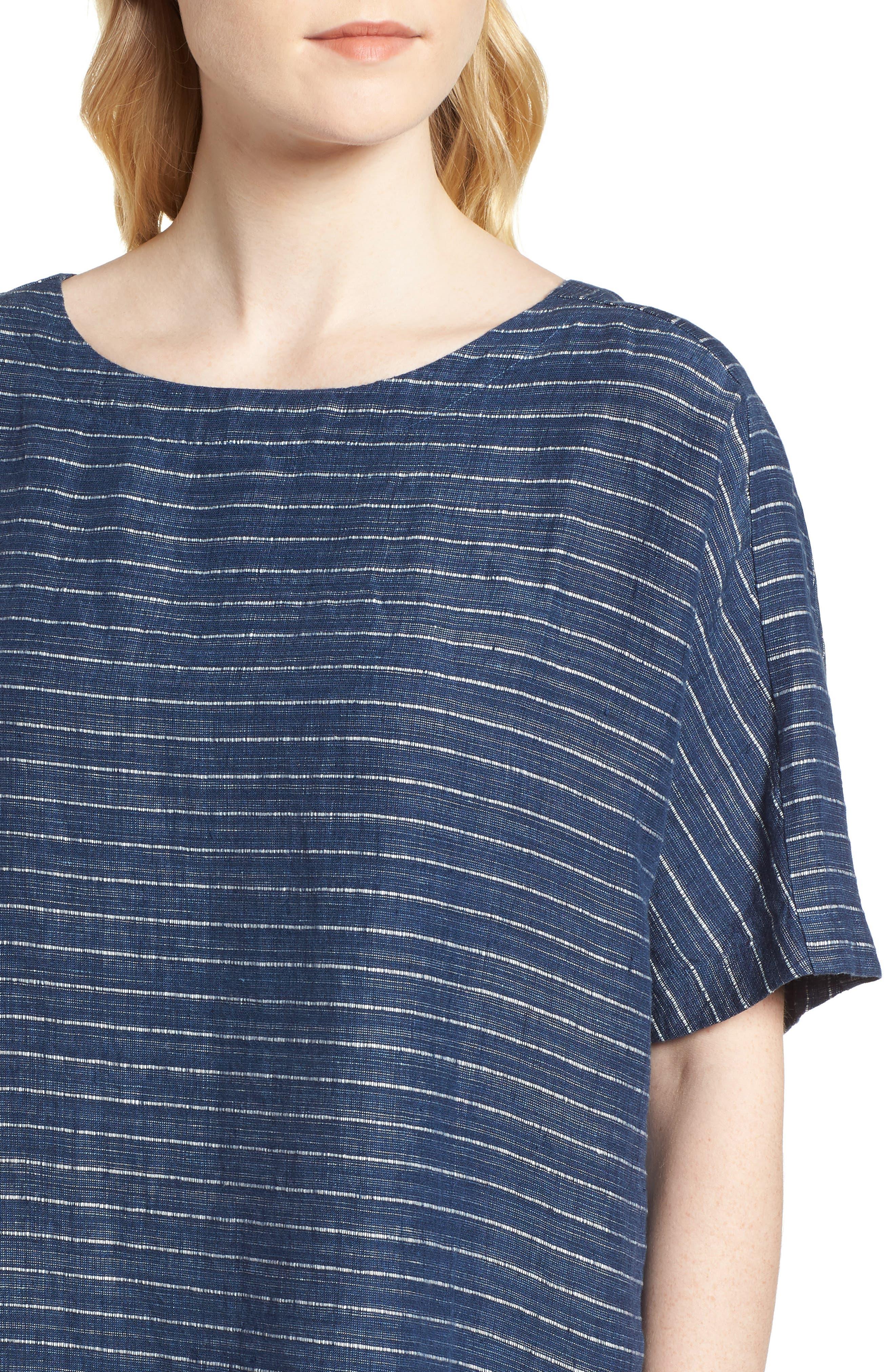 Stripe Linen Tunic Dress,                             Alternate thumbnail 4, color,                             480