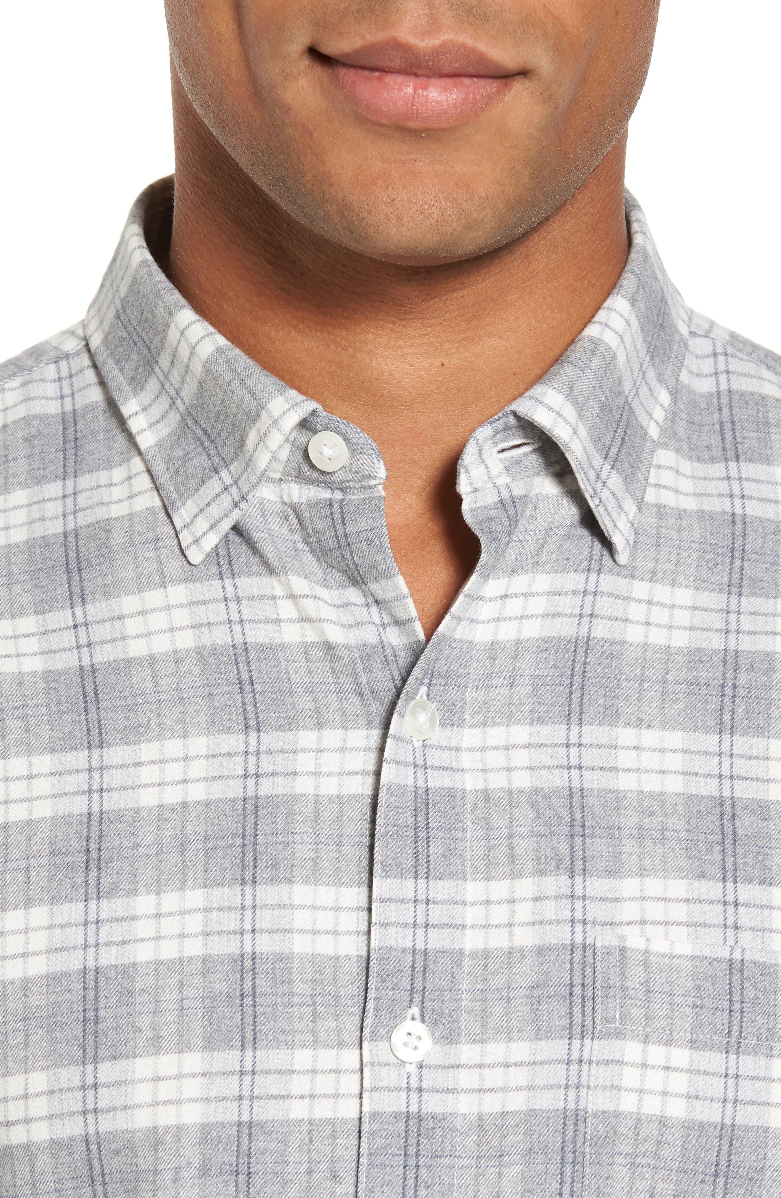 Slim Fit Plaid Twill Sport Shirt,                             Alternate thumbnail 4, color,                             020