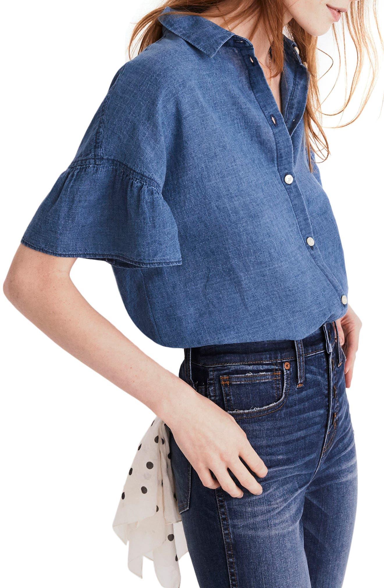 Central Ruffle Sleeve Shirt,                             Alternate thumbnail 3, color,                             400