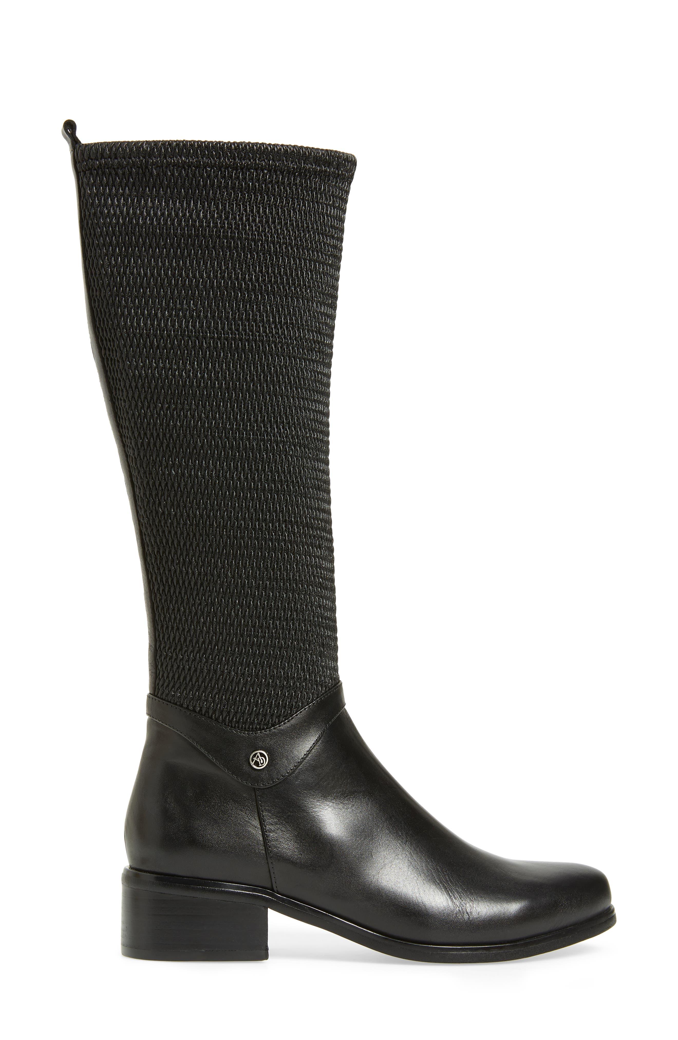AQUADIVA,                             Kallena Waterproof Knee High Boot,                             Alternate thumbnail 3, color,                             BLACK LEATHER