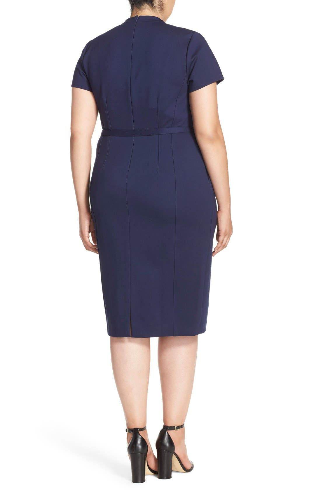 Belted Ponte V-Neck Sheath Dress,                             Alternate thumbnail 3, color,                             410