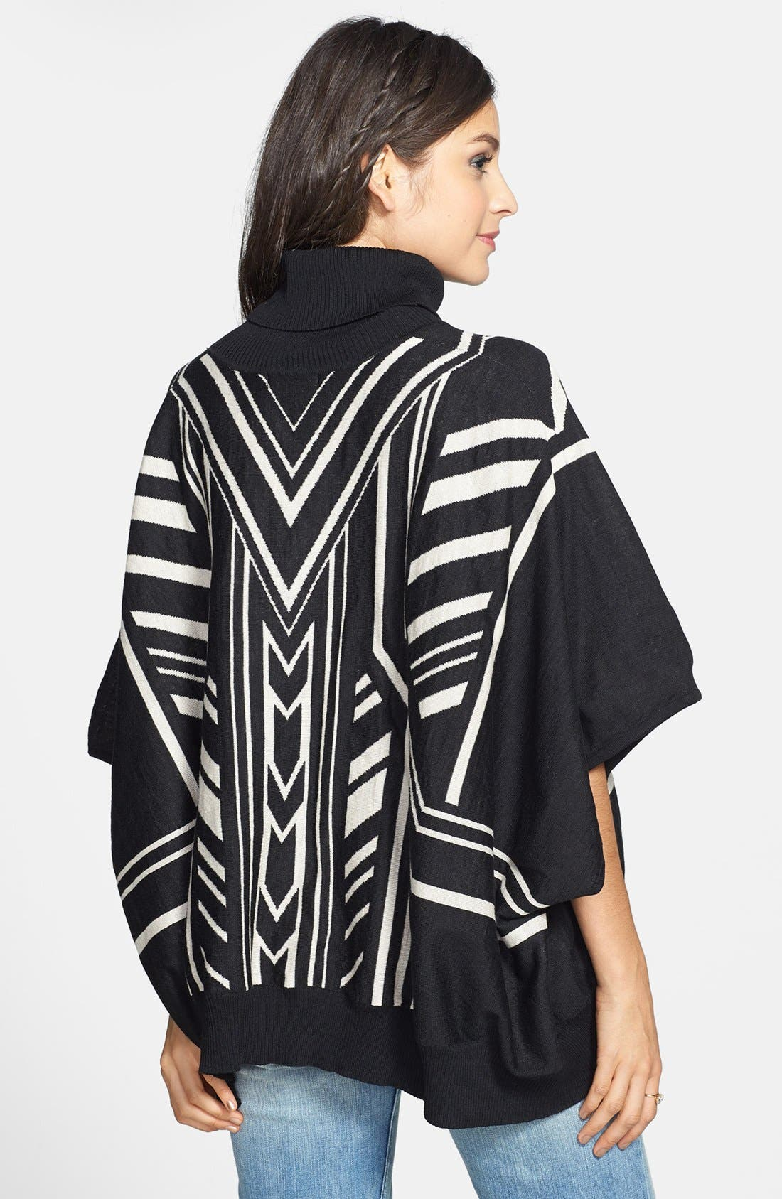JEALOUS TOMATO,                             Knit Poncho Sweater,                             Alternate thumbnail 3, color,                             001