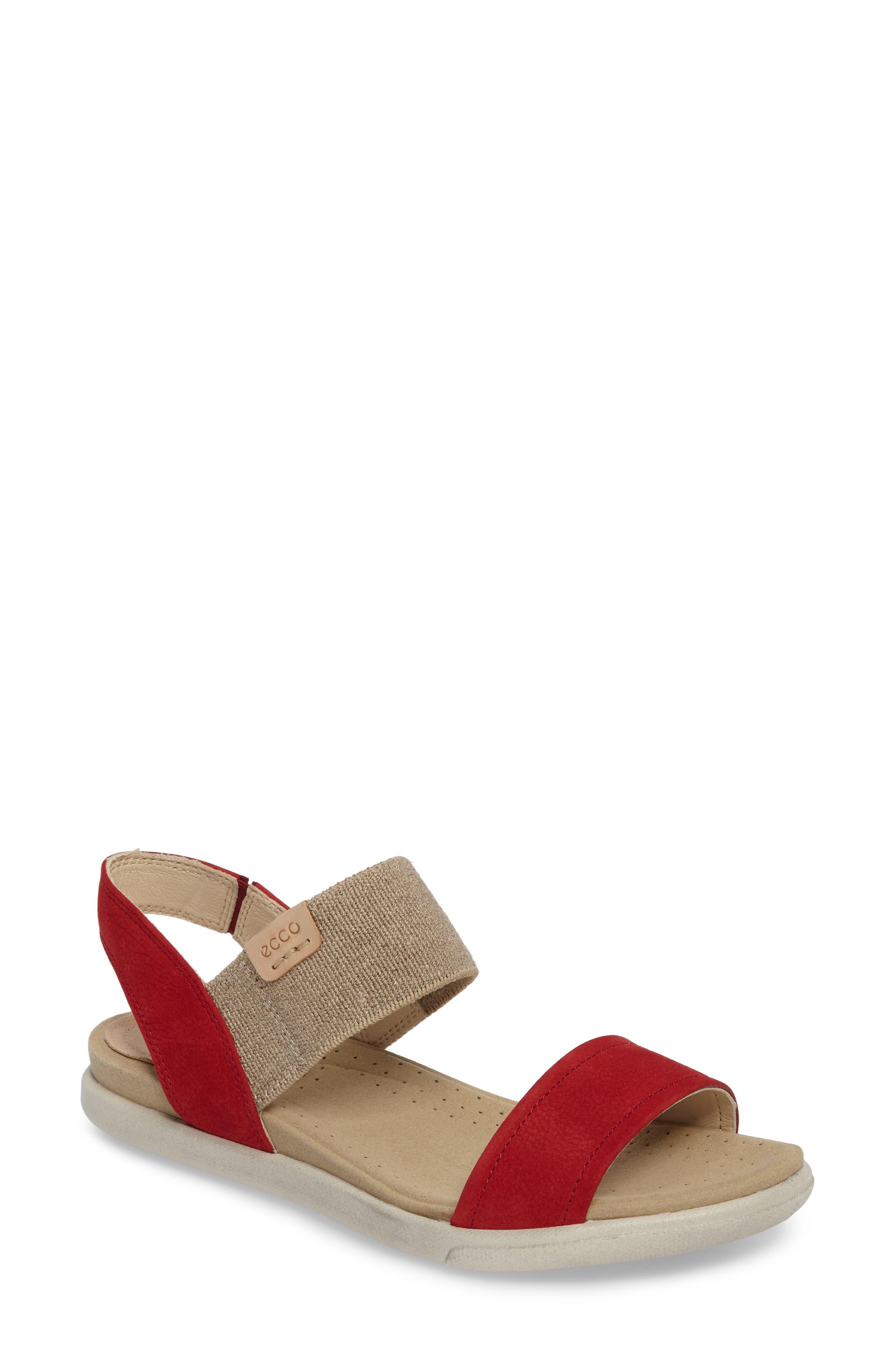 'Damara' Sandal,                         Main,                         color, CHILI RED LEATHER
