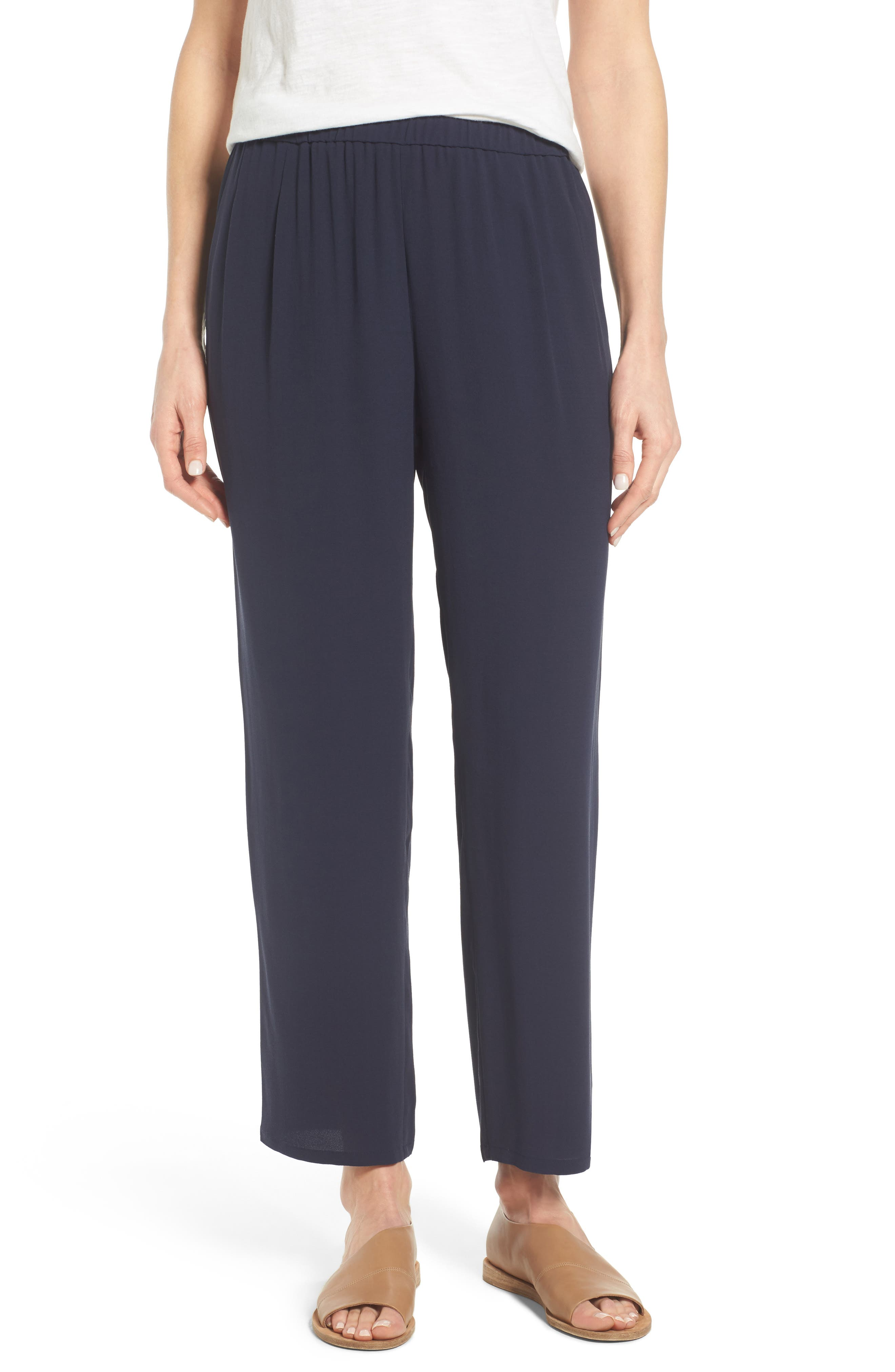 Silk Georgette Crepe Straight Ankle Pants,                             Main thumbnail 4, color,