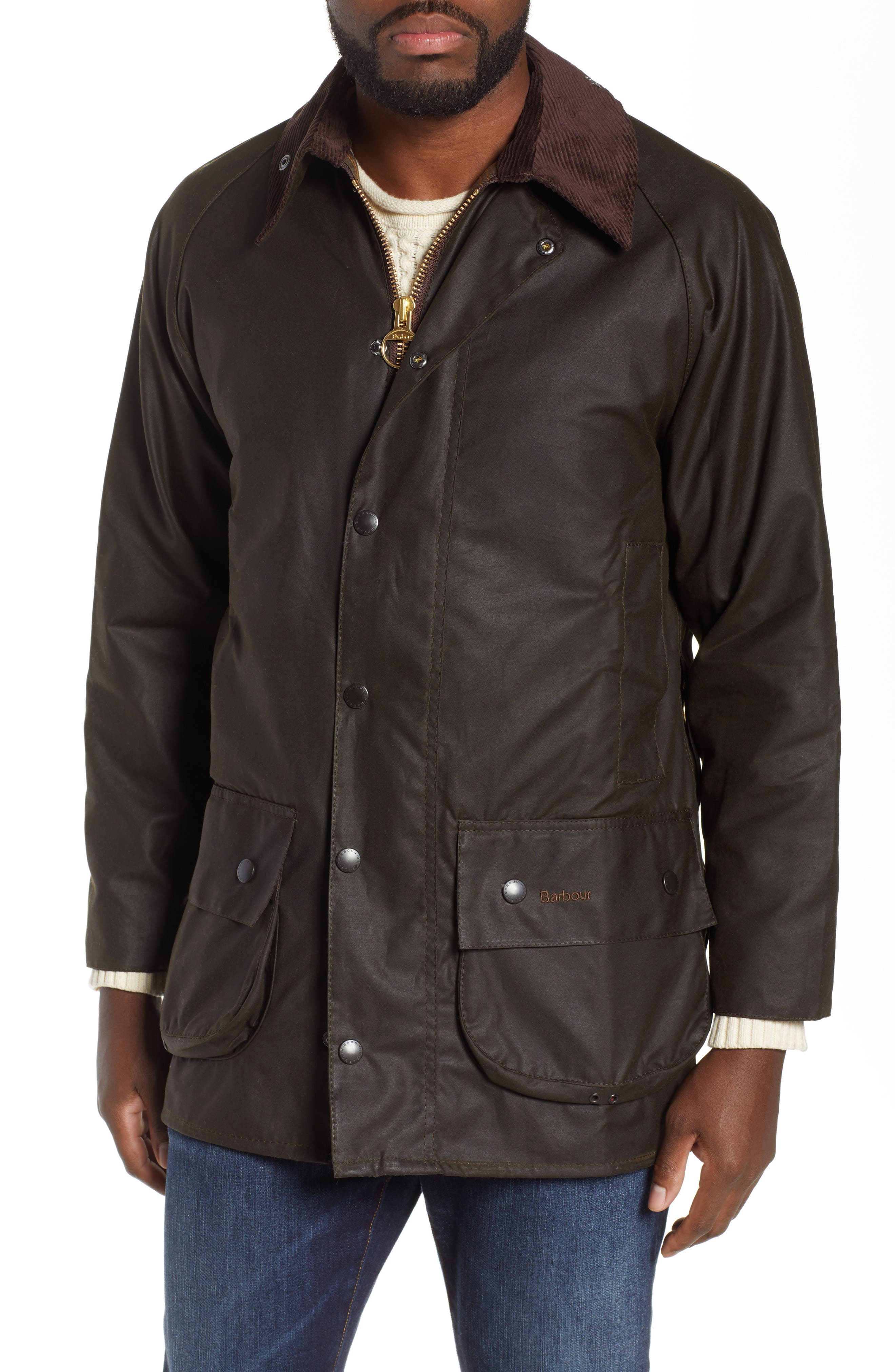 BARBOUR,                             'Classic Beaufort' Relaxed Fit Waxed Cotton Jacket,                             Alternate thumbnail 2, color,                             OLIVE